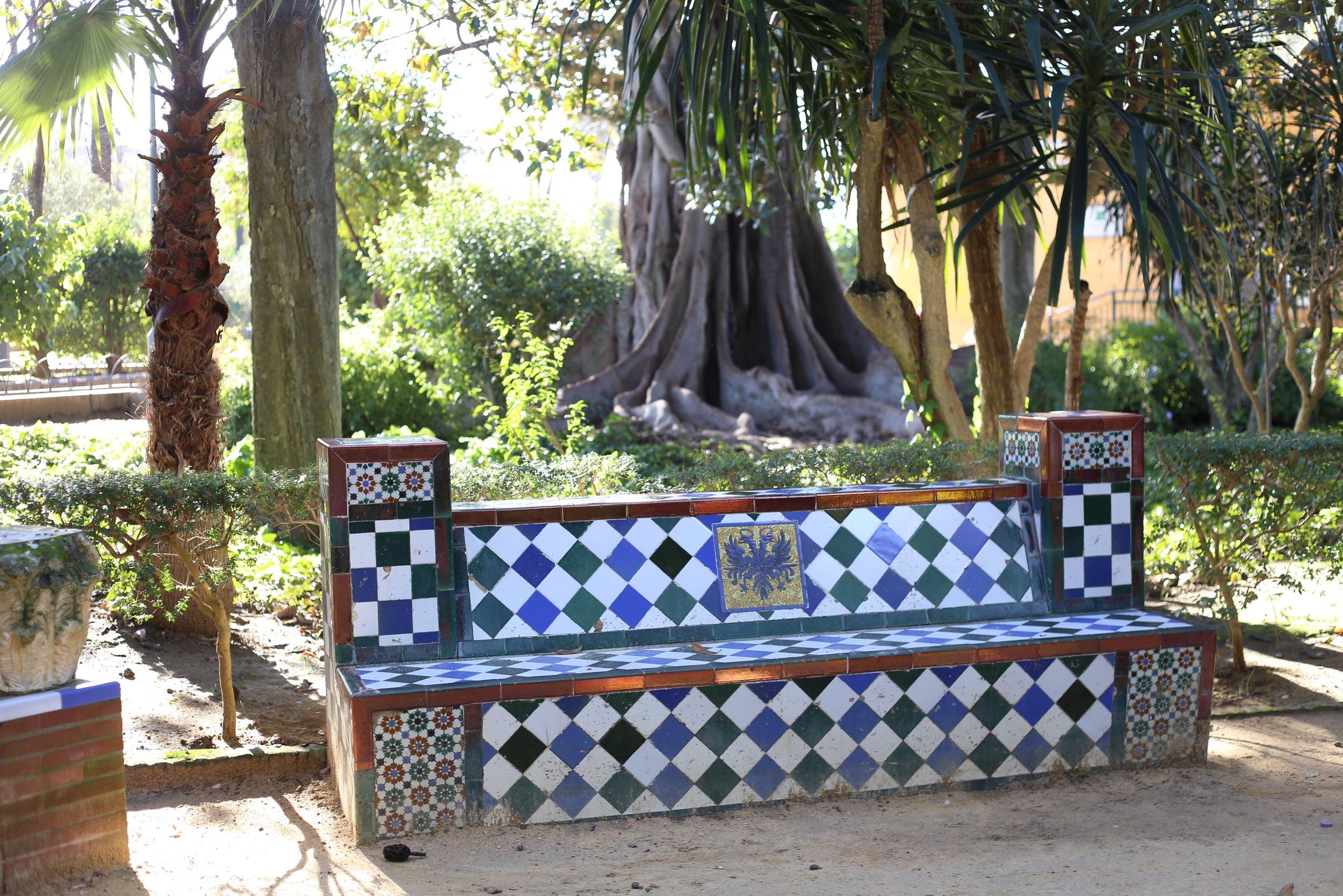 tiled spanish bench