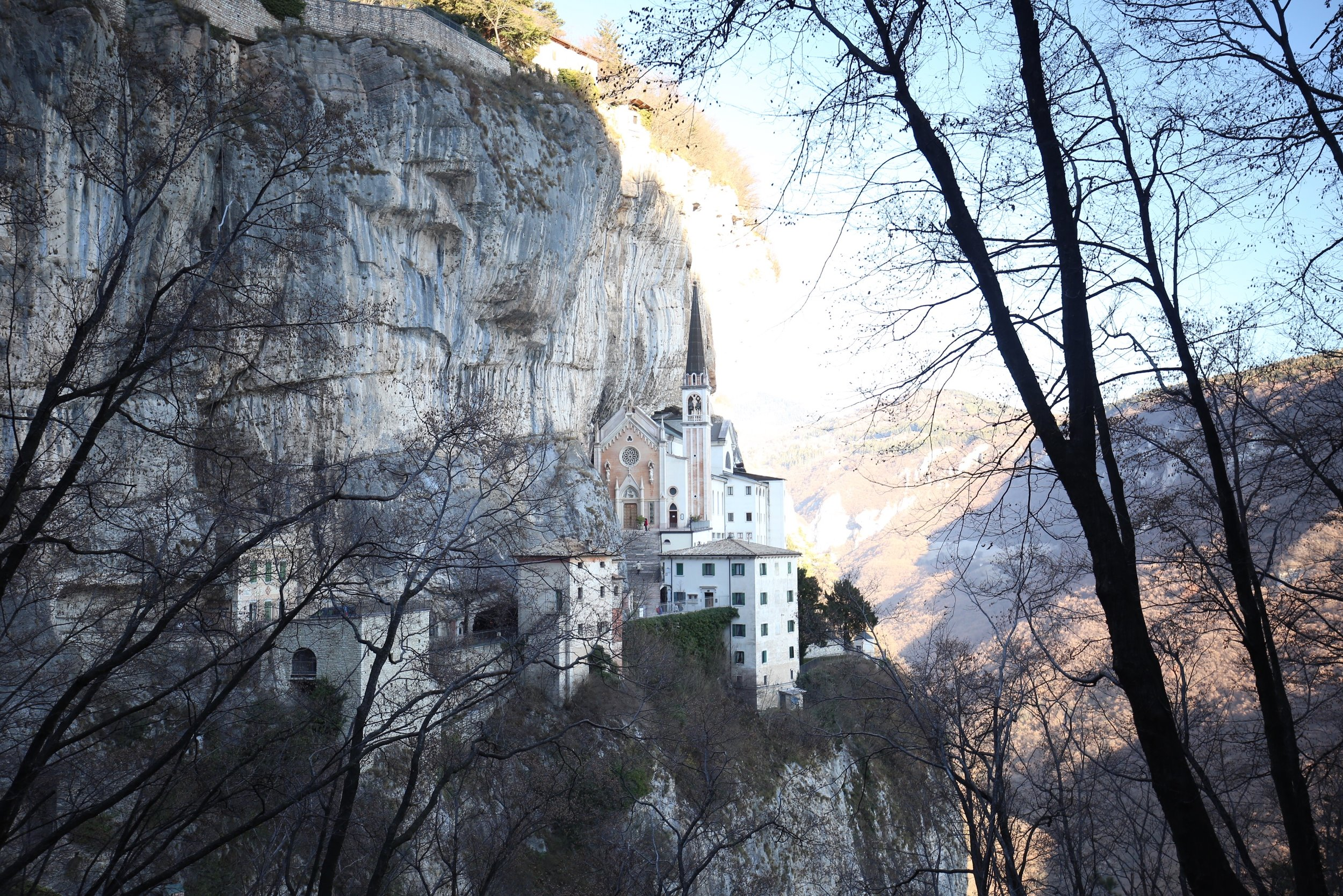 Madonna Della Corona, a pink church in the rock cliffs of Verona.