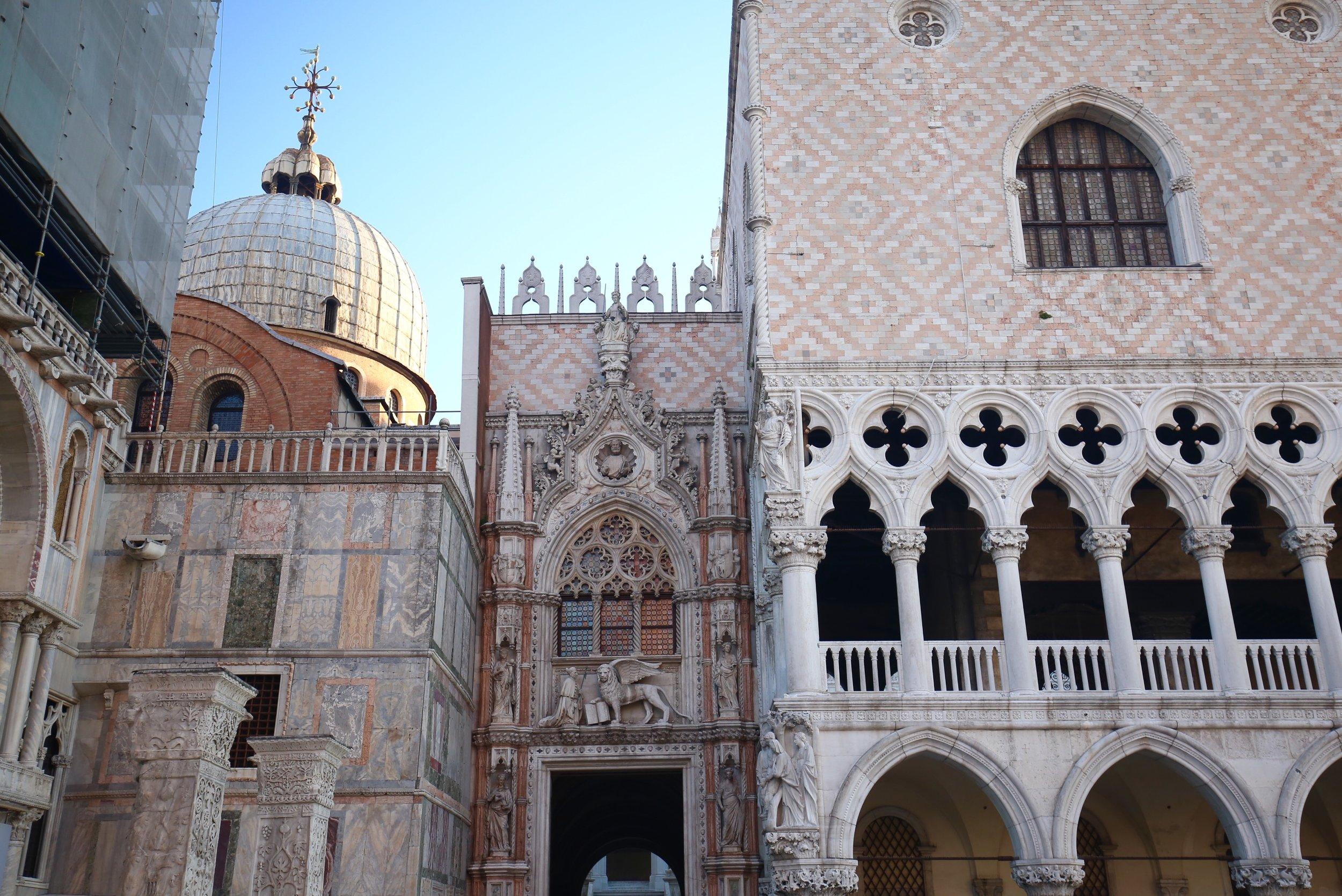 Pink stone architecture in Venice.