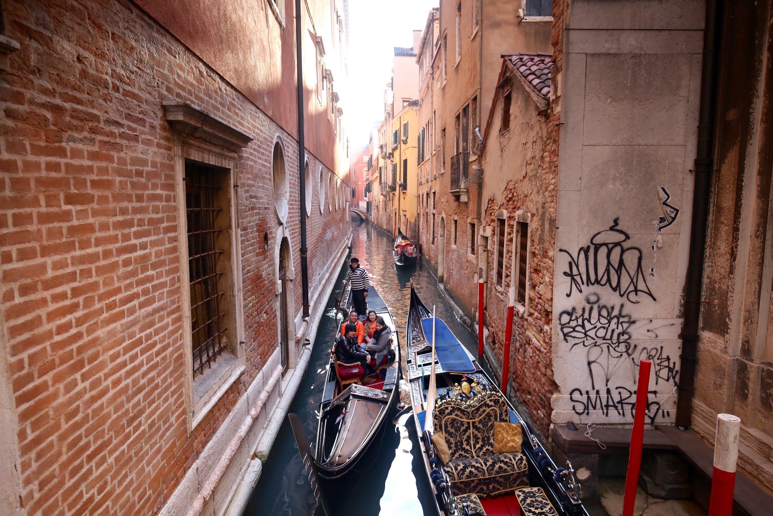 Early morning gondola riders.