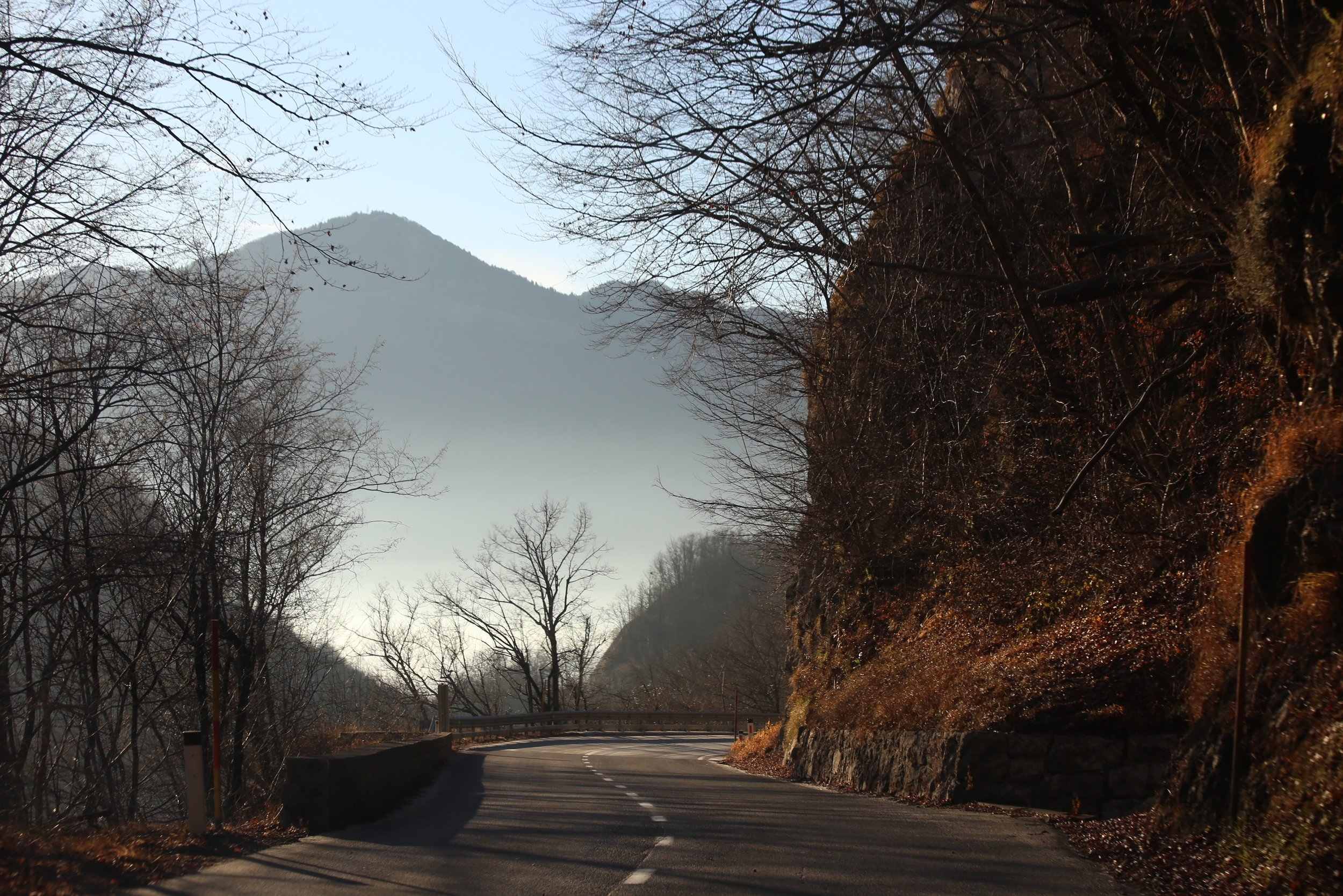 The road to Lake Bled, a windy one in the mountains of Slovenia.