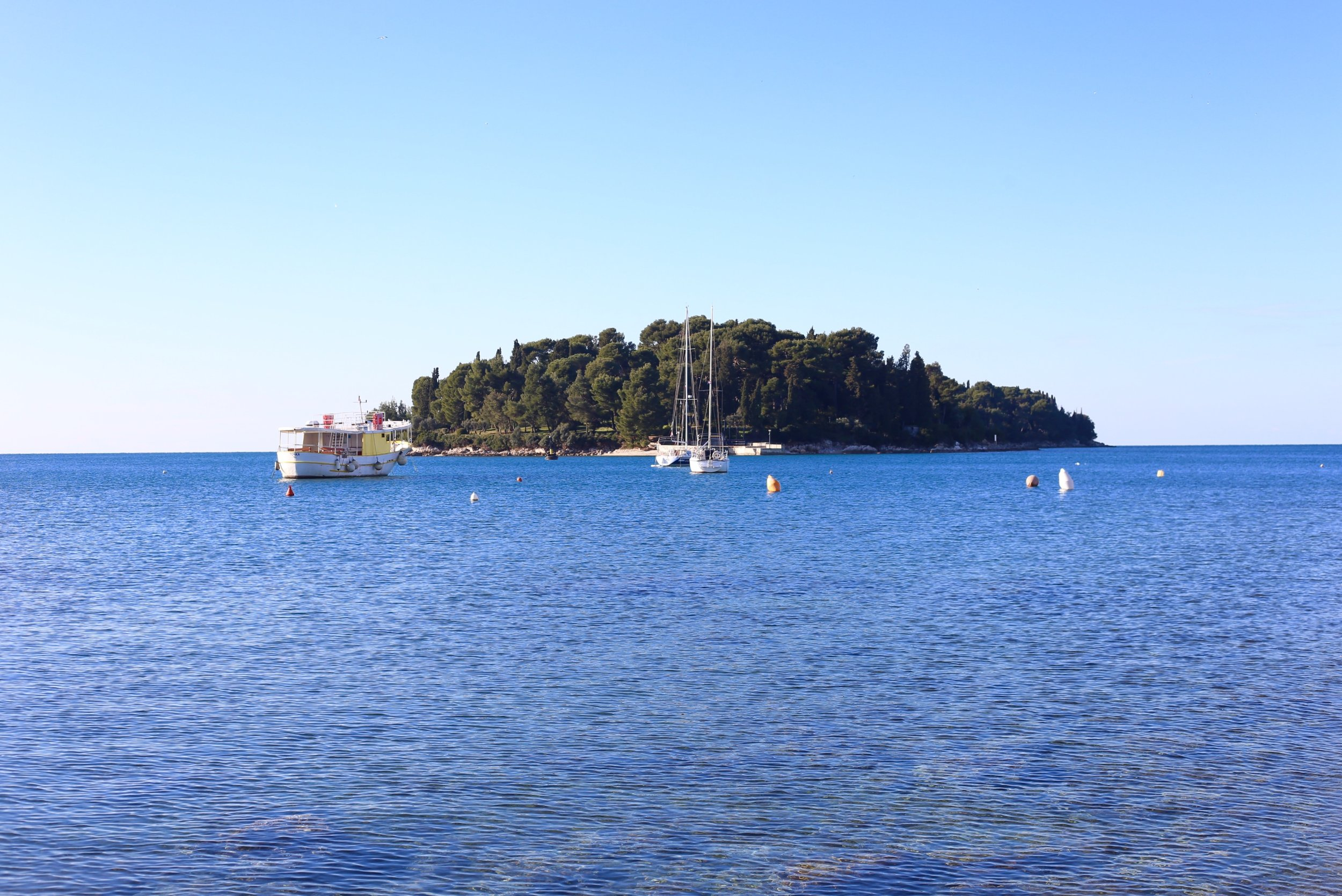Tiny tree covered island off Croatia in the Adriatic sea.