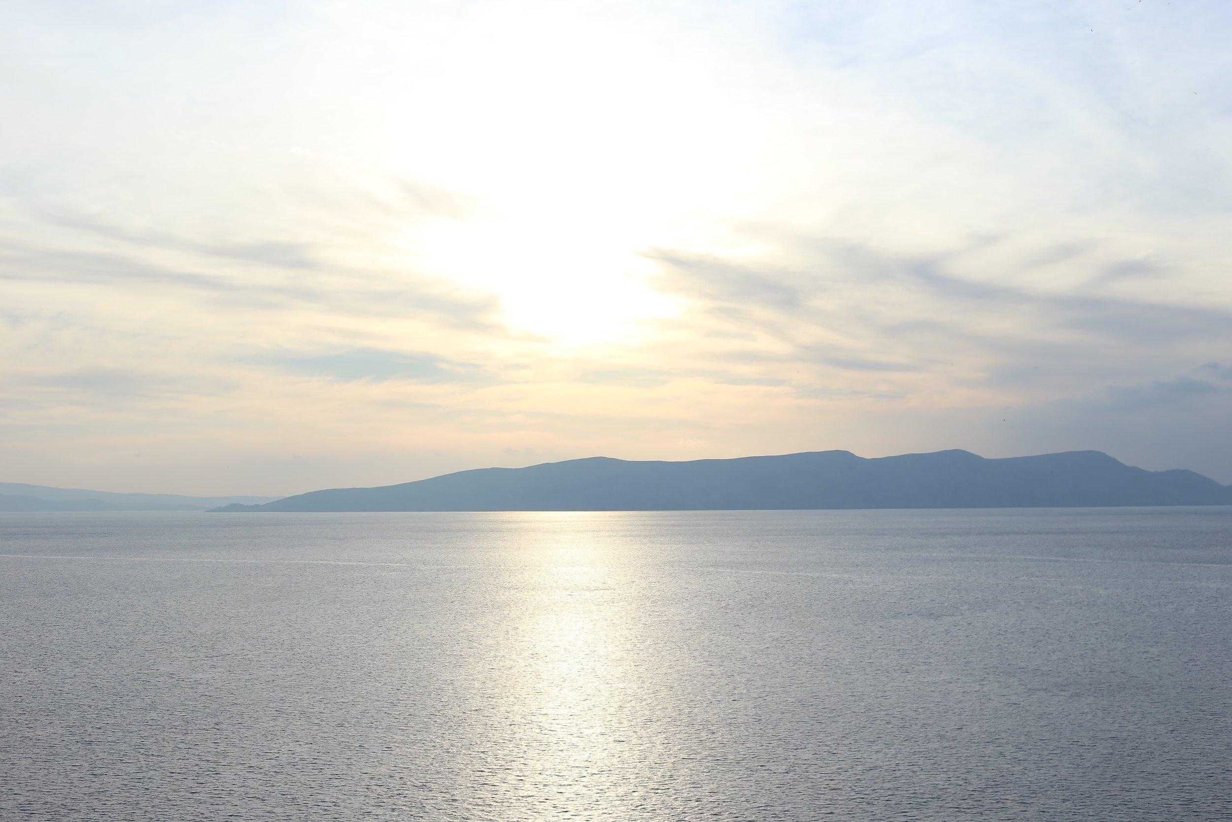 Calm seas at sunset.