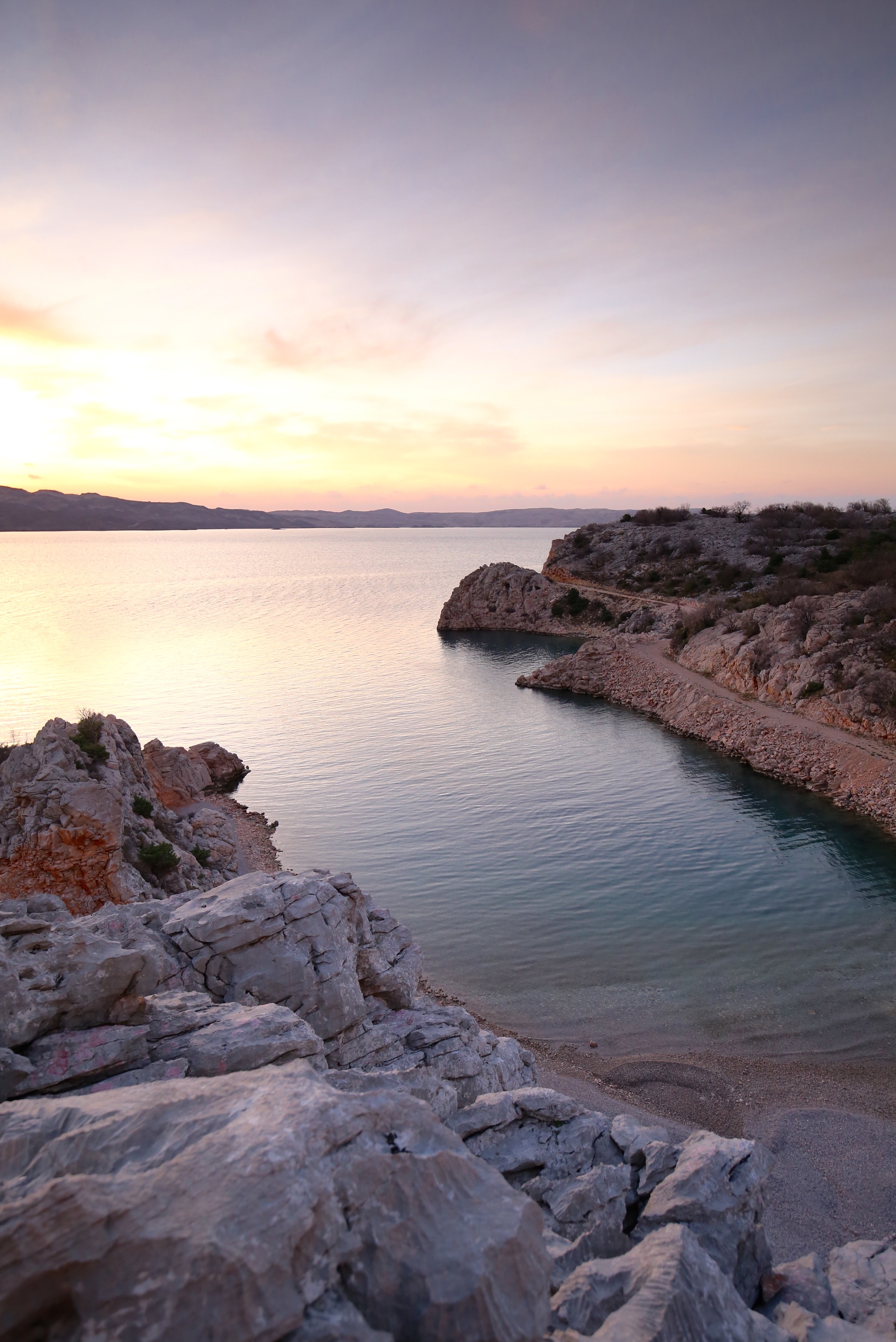Sunset over the coves by the adriatic sea.