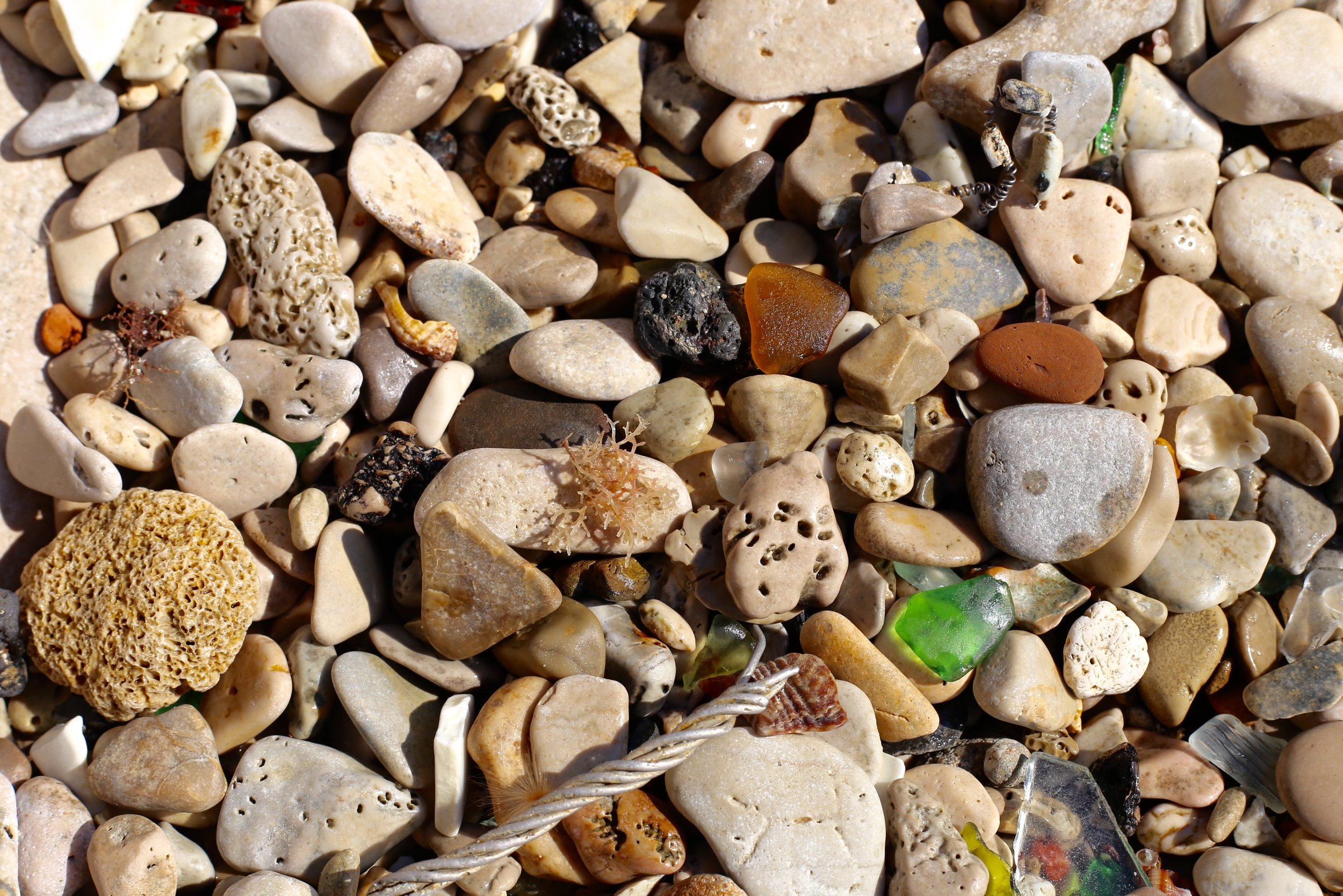 rubble and sea glass and stones.