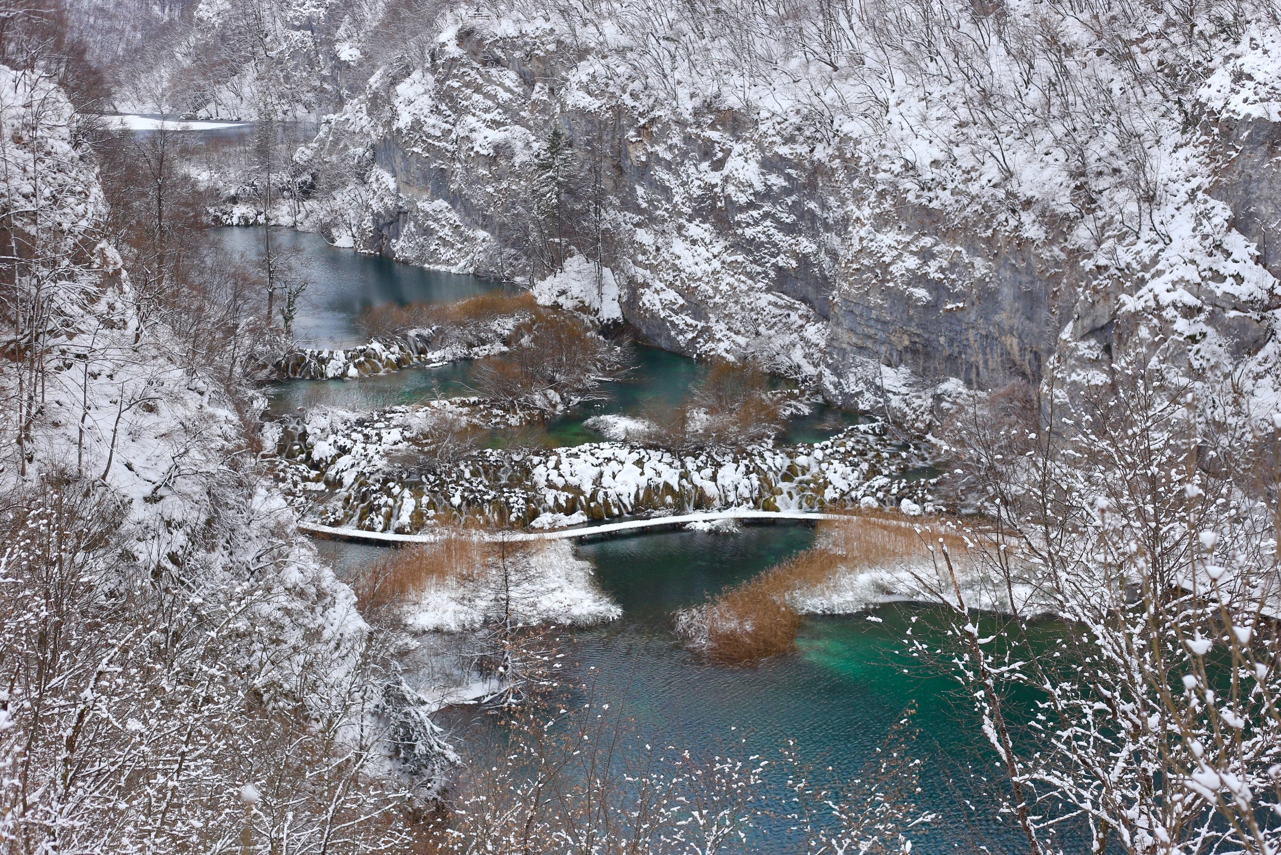 Plitvice Lakes National Park colours in winter.