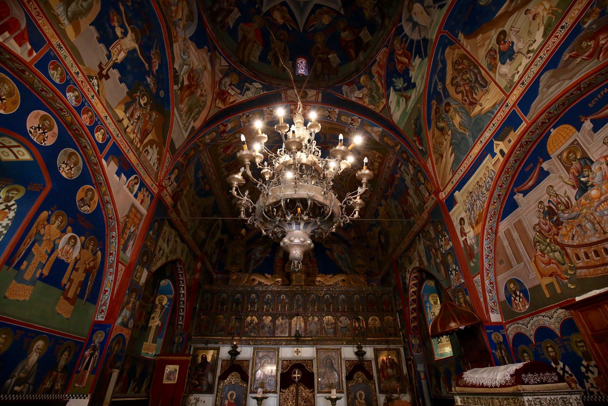 A beautifully colourful church interior, Montenegro.