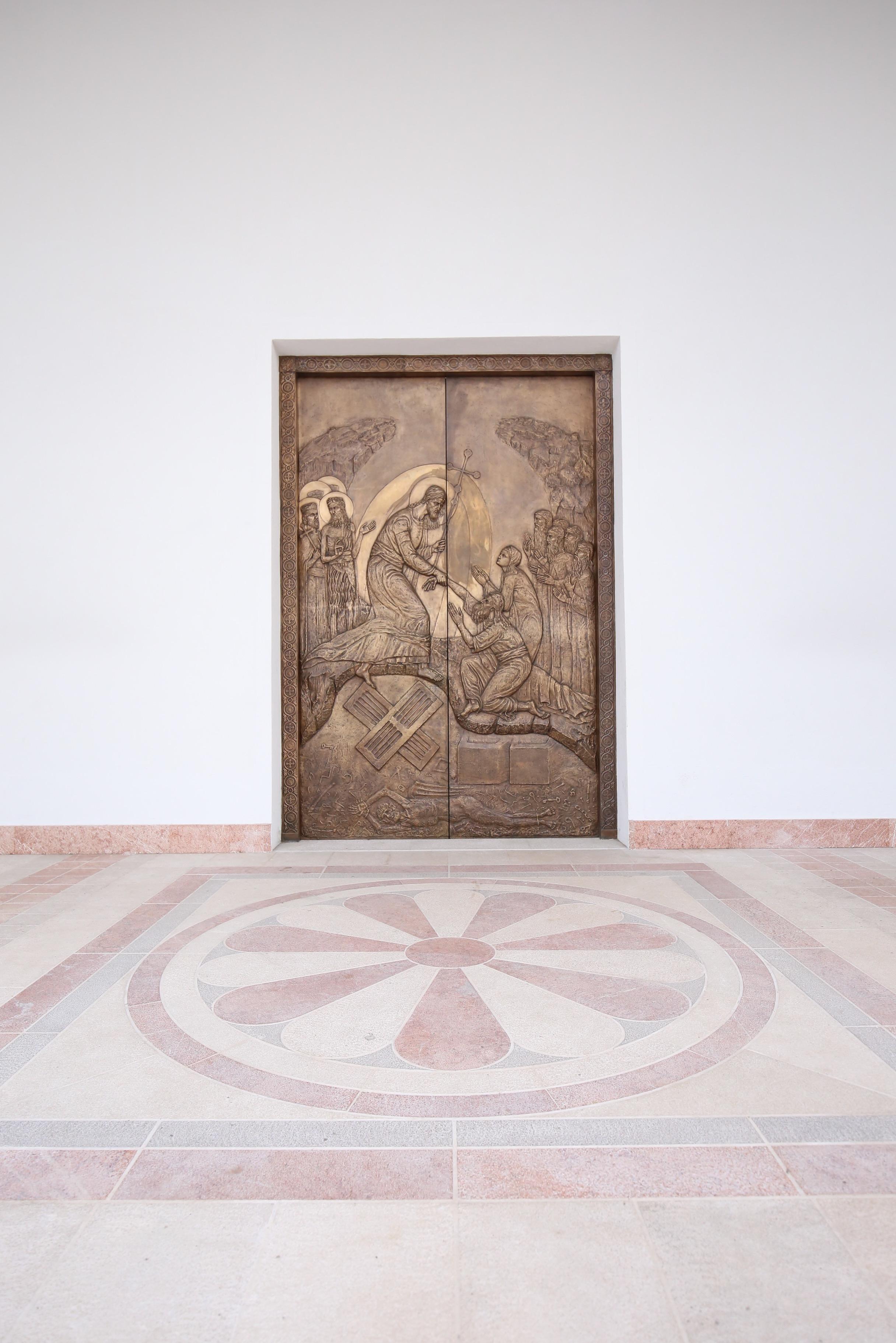 Bronze doors with an Orthodox relief, Montenegro.