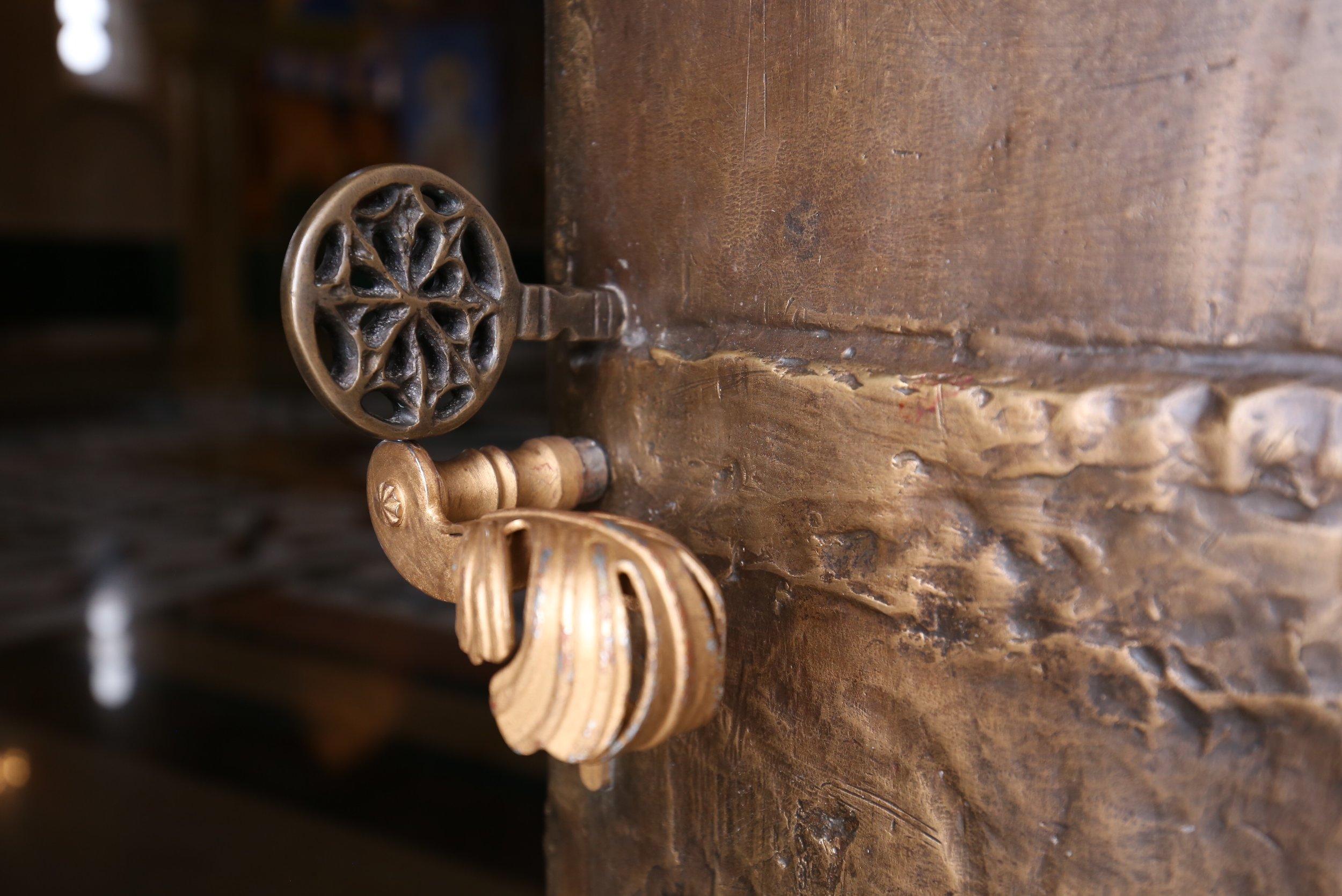 Bronze door handle.