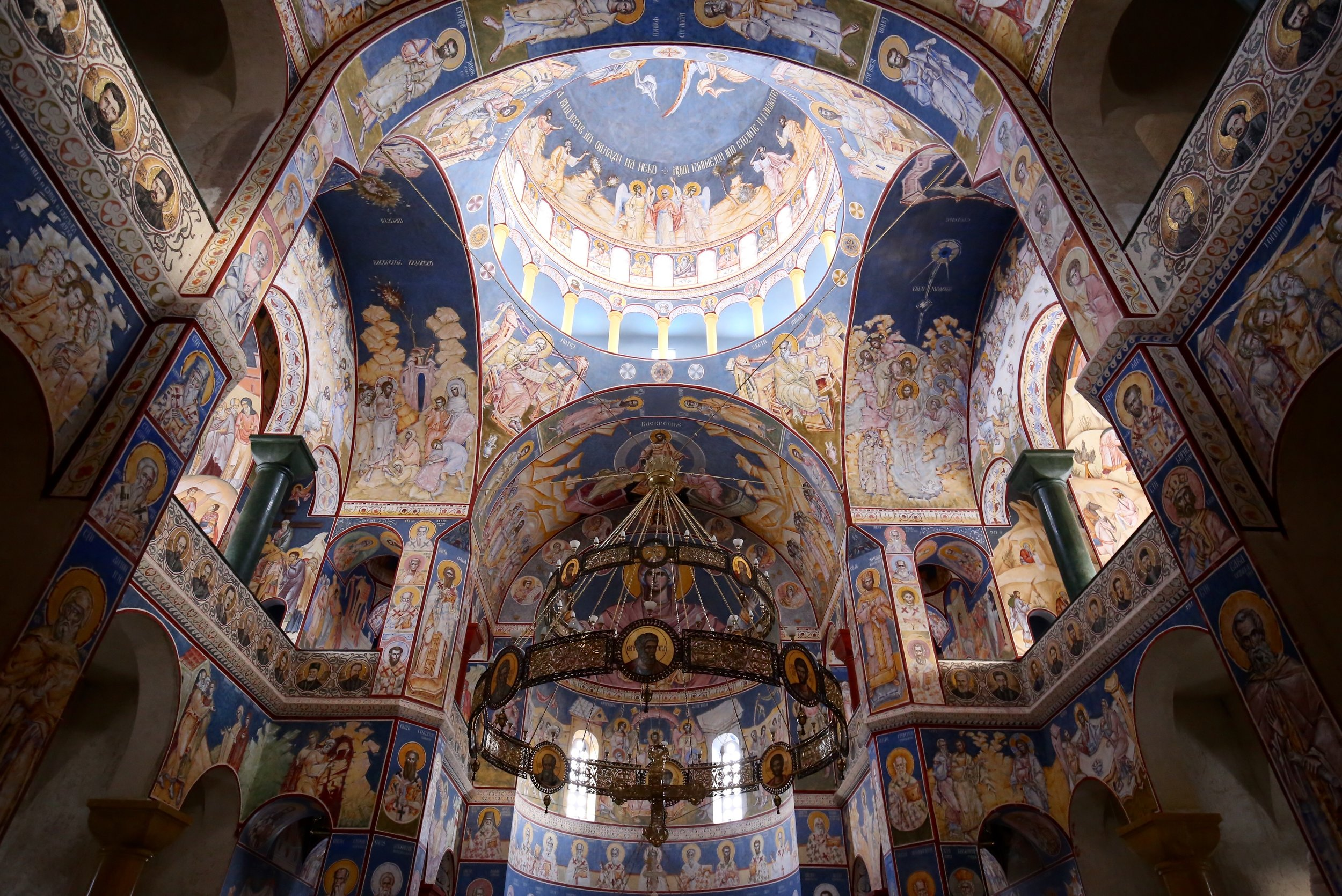 Incredible church interior - painted saints and blue walls, Montenegro.