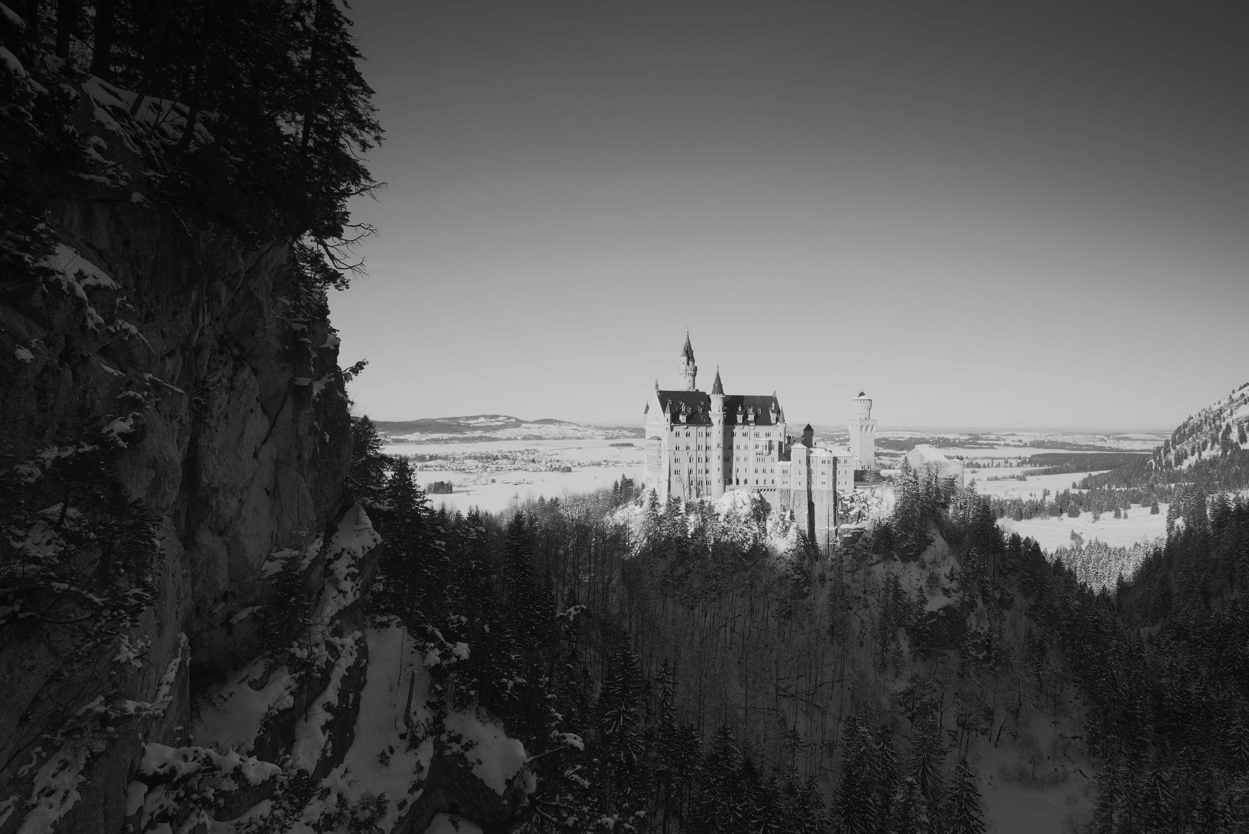 Neuschwanstein castle in black and white.