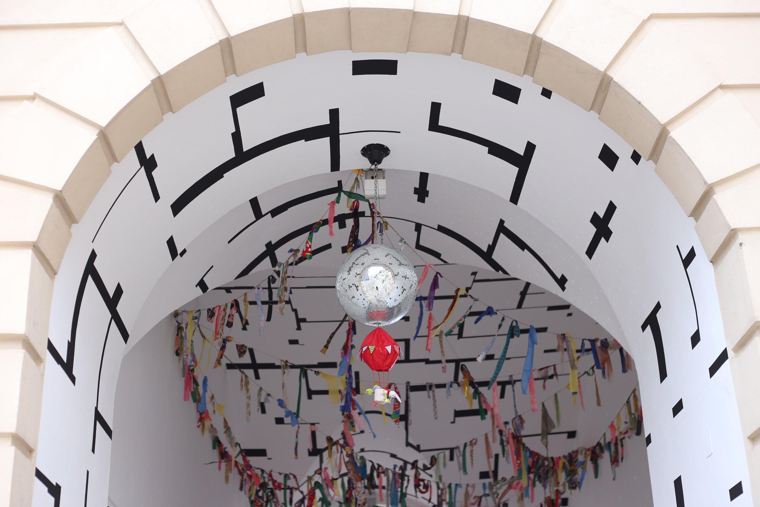 Secret passage with art installation in Vienna.