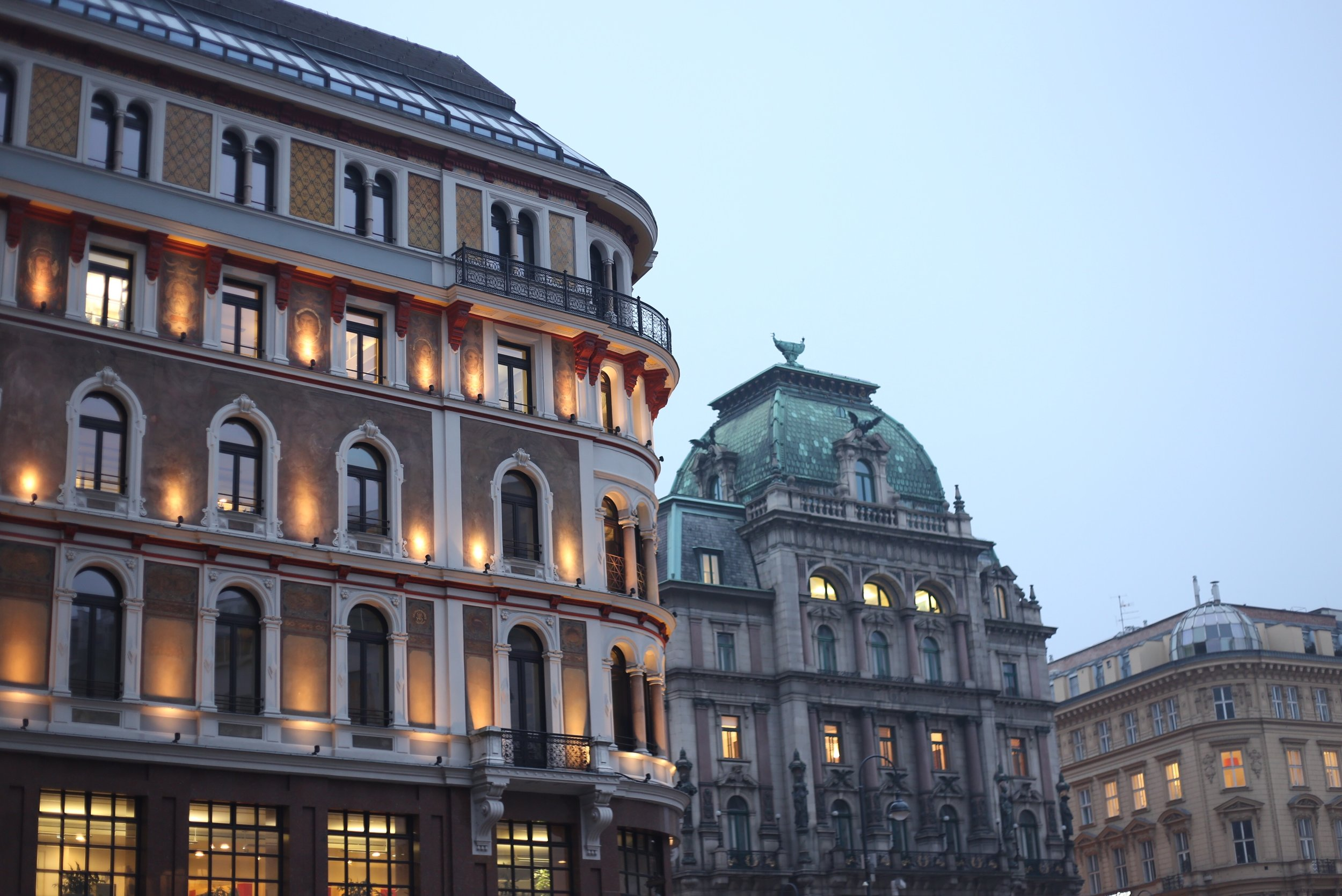 Viennese architecture all lit up.