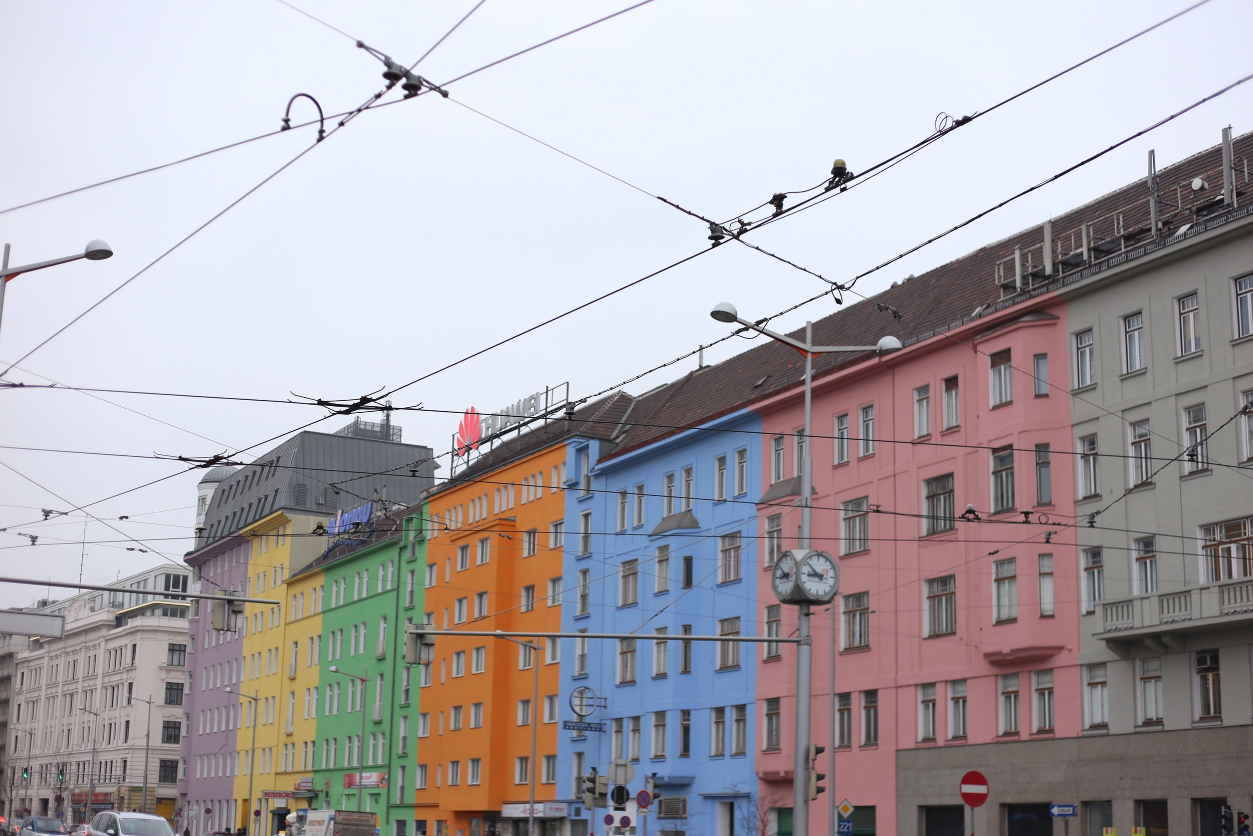 pastel houses and tram lines