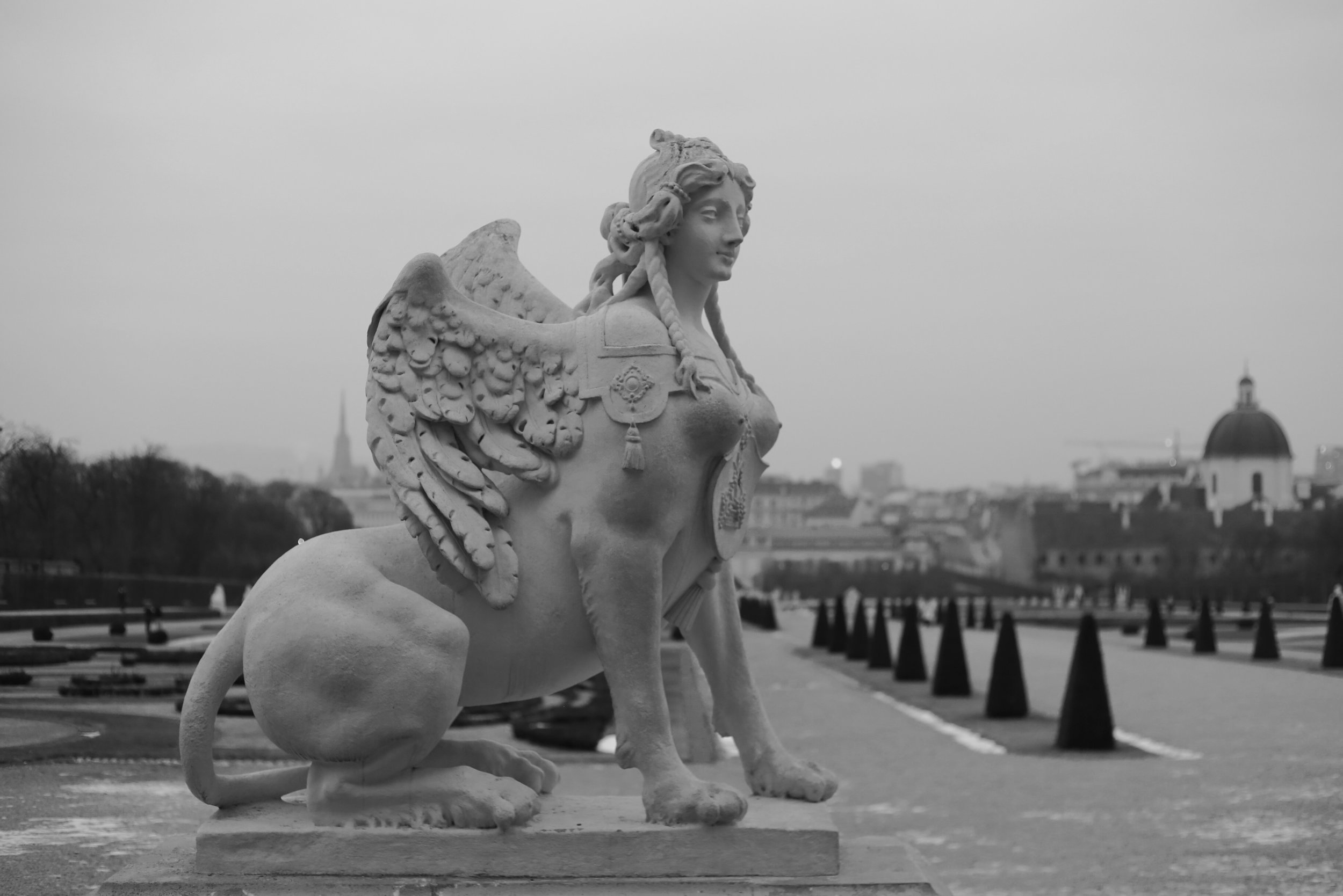 A winged female sphinx.