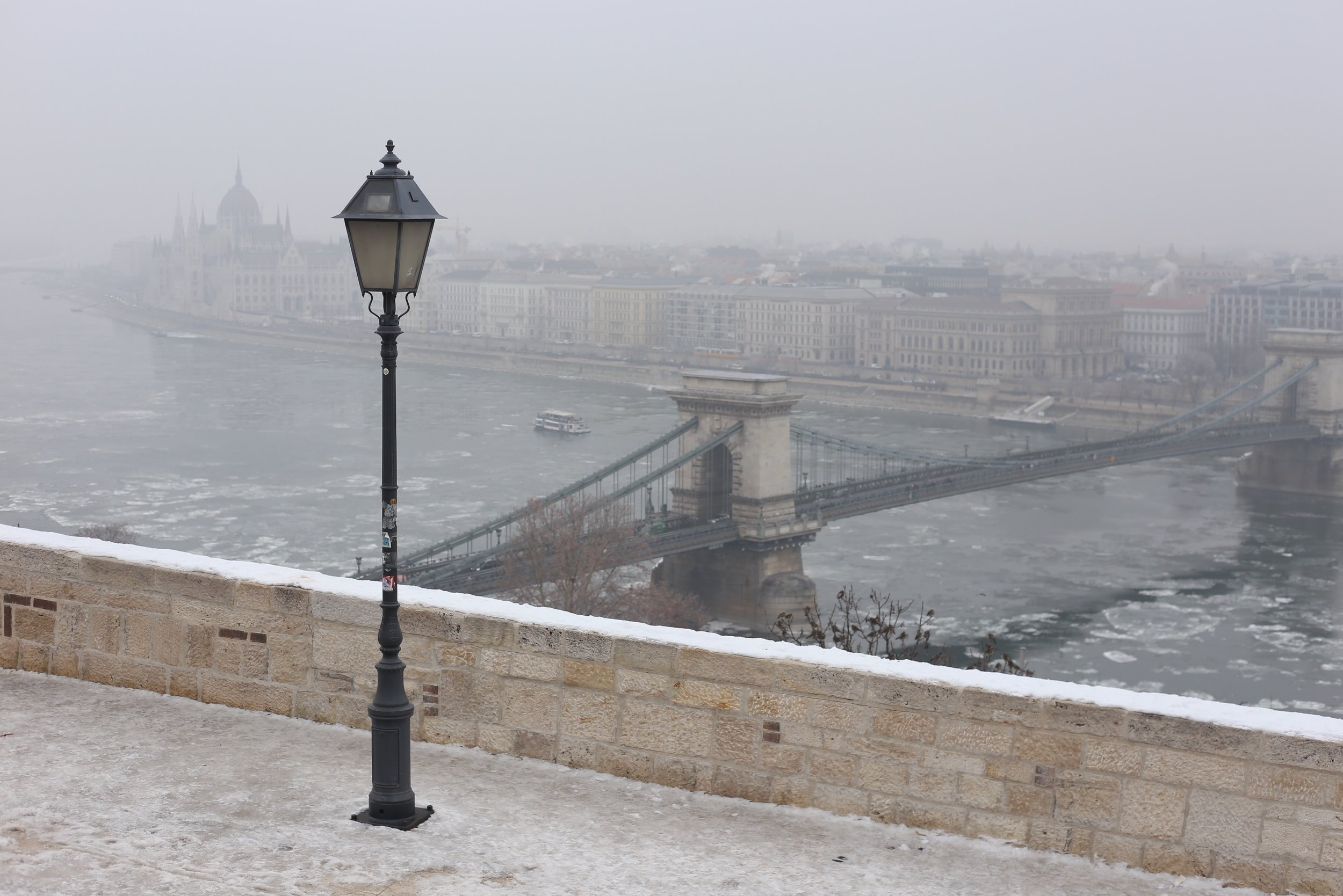 The view from Buda Castle over the Danube in winter.