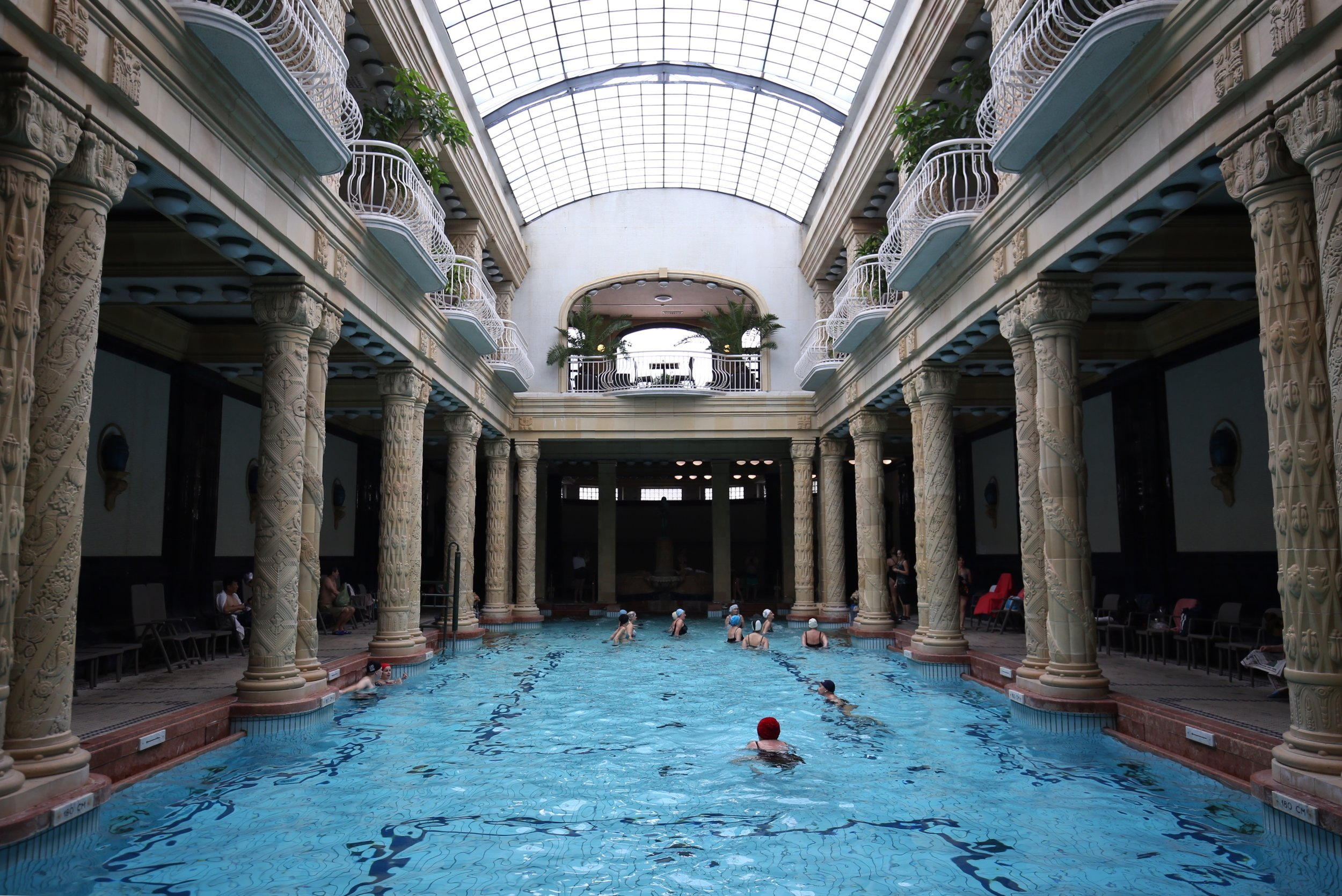 Bathers swim in an old world bath-house, in the Gellert Hotel, Budapest.