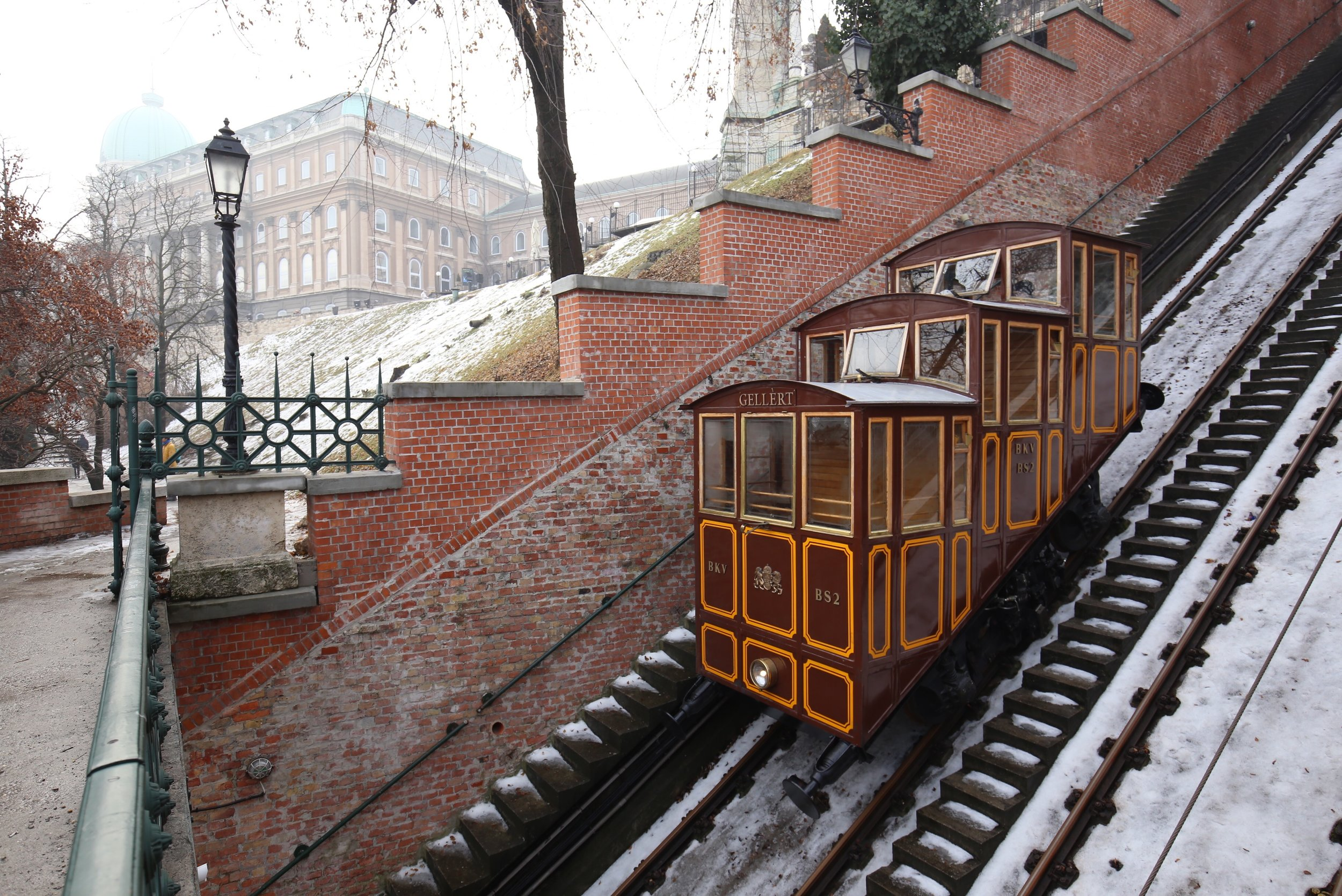 The real funicular from the Grand Budapest hotel - the old Gellert Funicular.