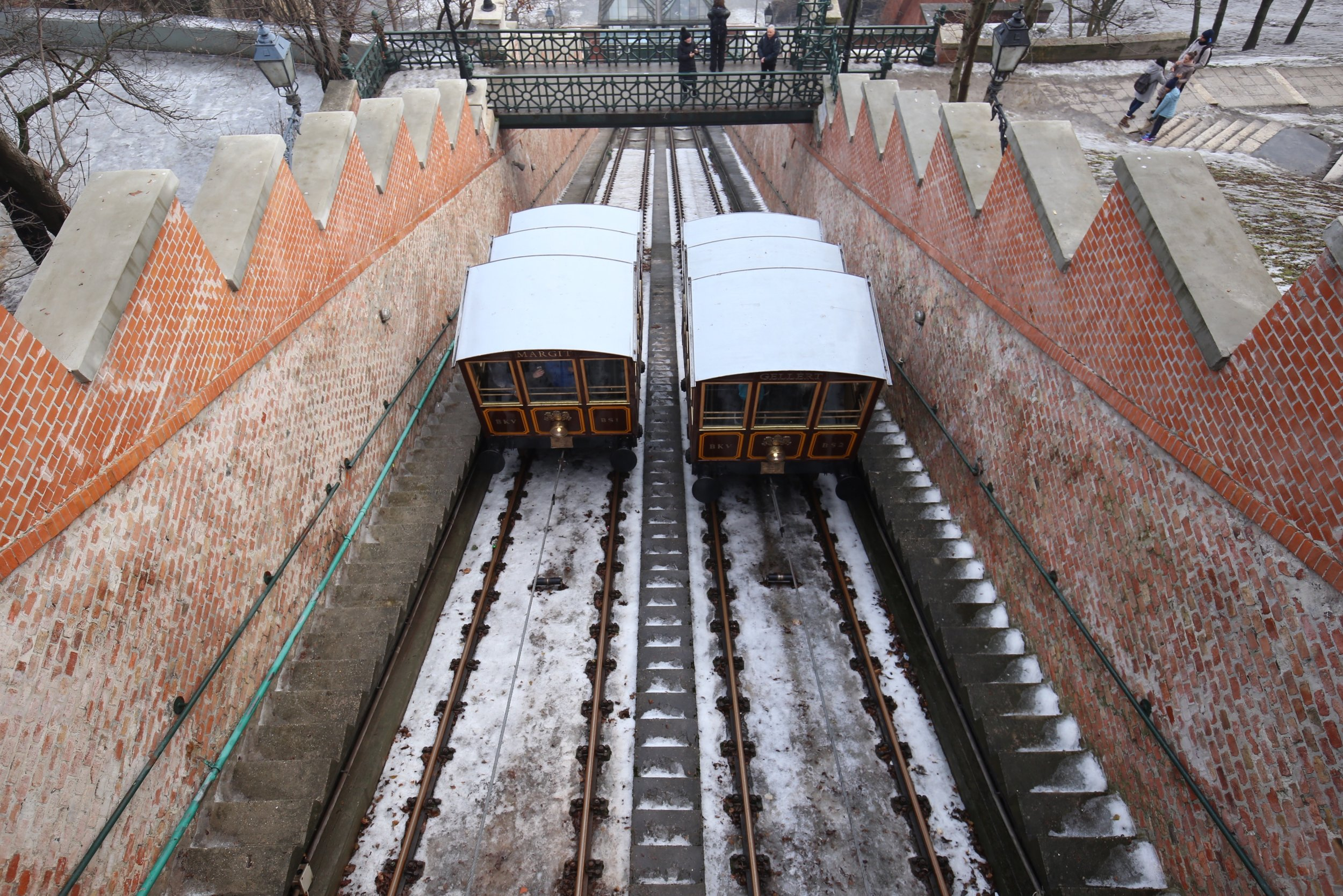 The beautiful Gellert funicular in winter - real life Grand Budapest Hotel style.