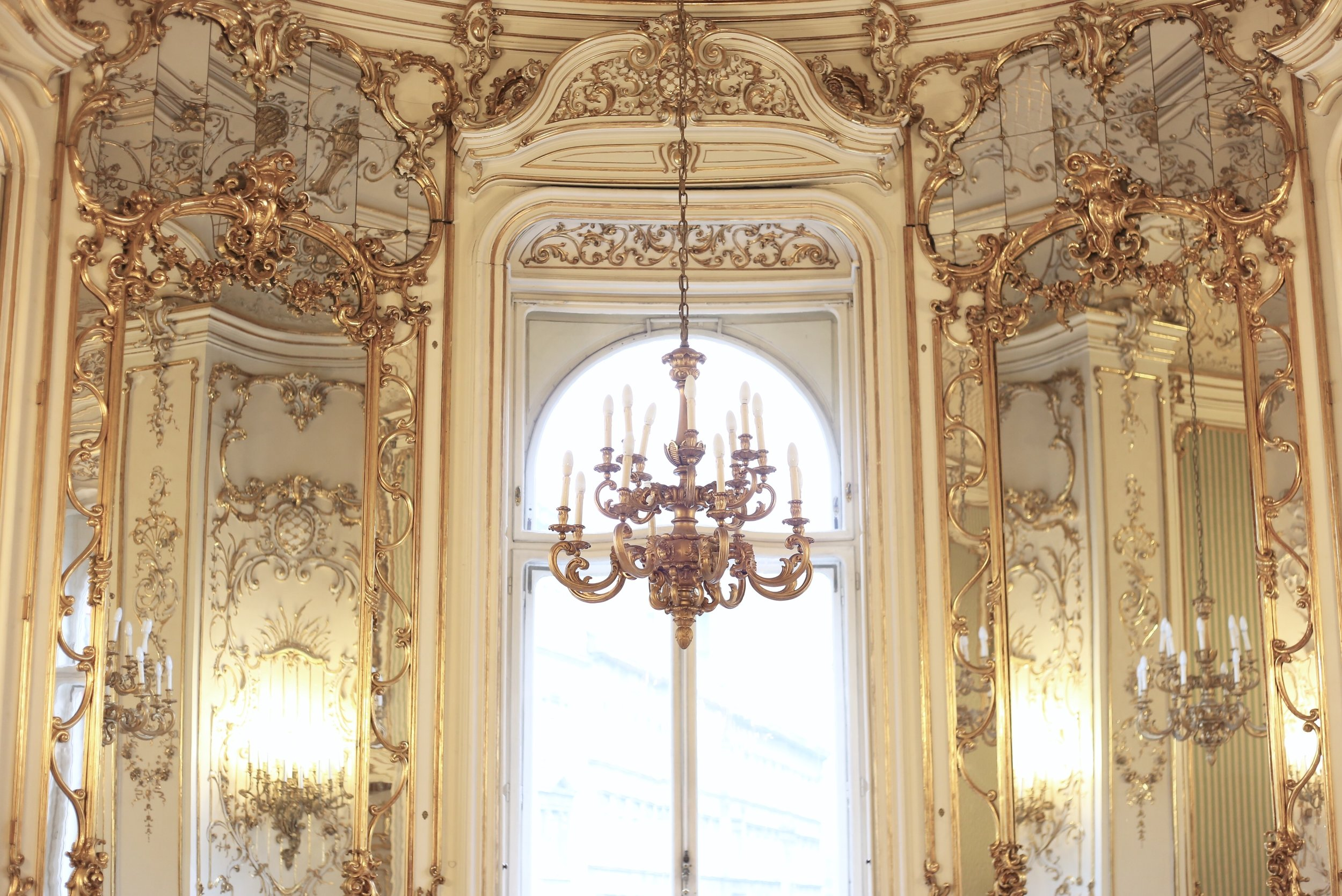 Chandelier and rococo details at the Szabo Ervin Library.