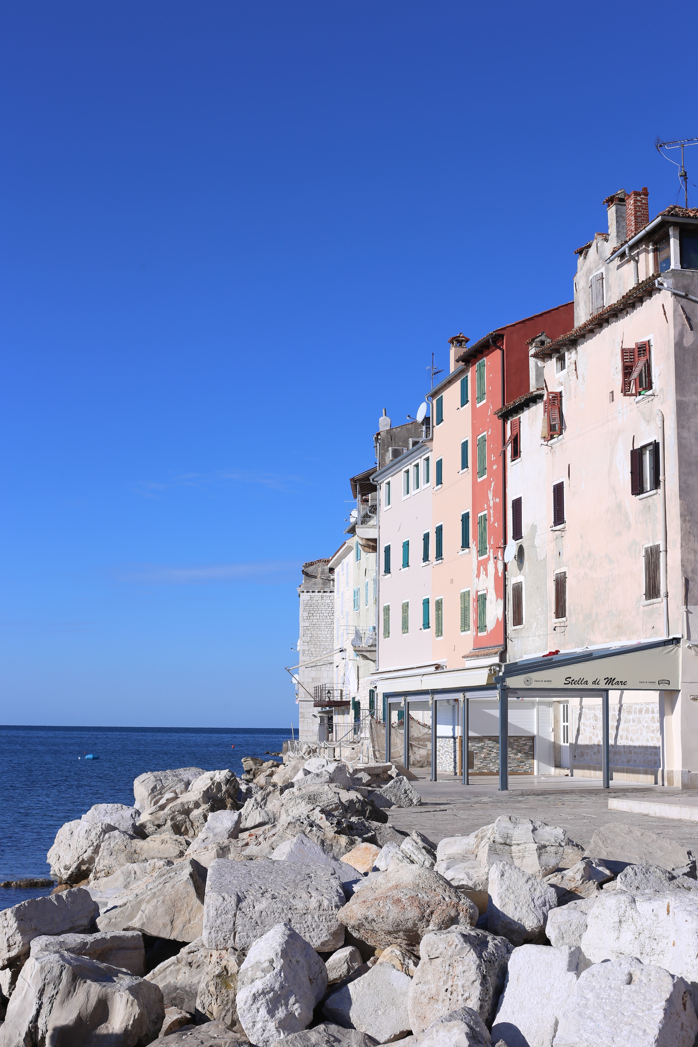 White washed houses by the Adriatic ocean.