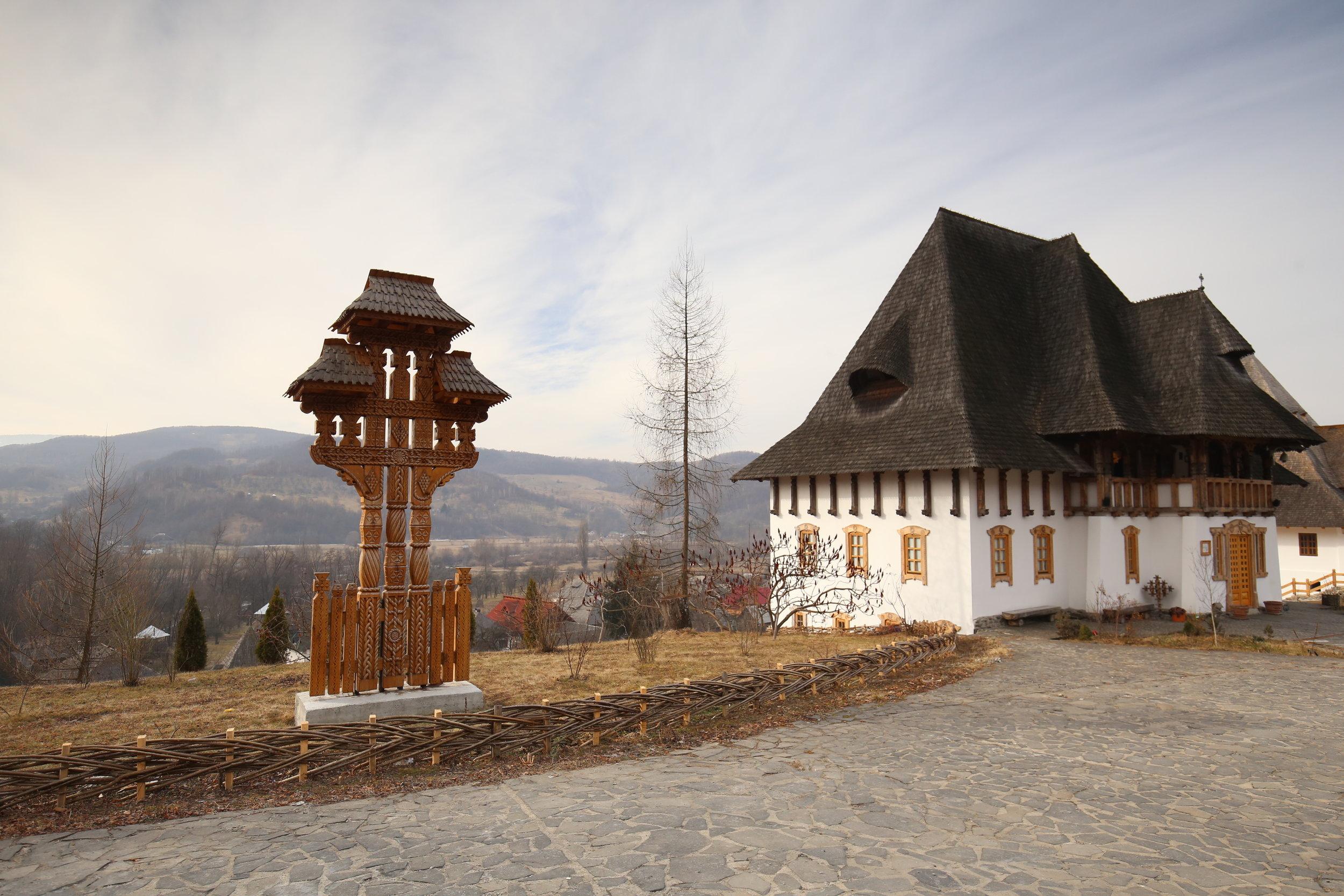 The beautiful wooden architecture of Bârsana Monastery, Romania.