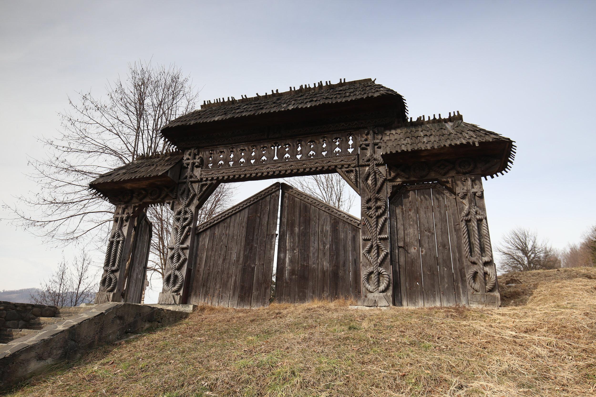 Wooden doors of Maramures, Romania.