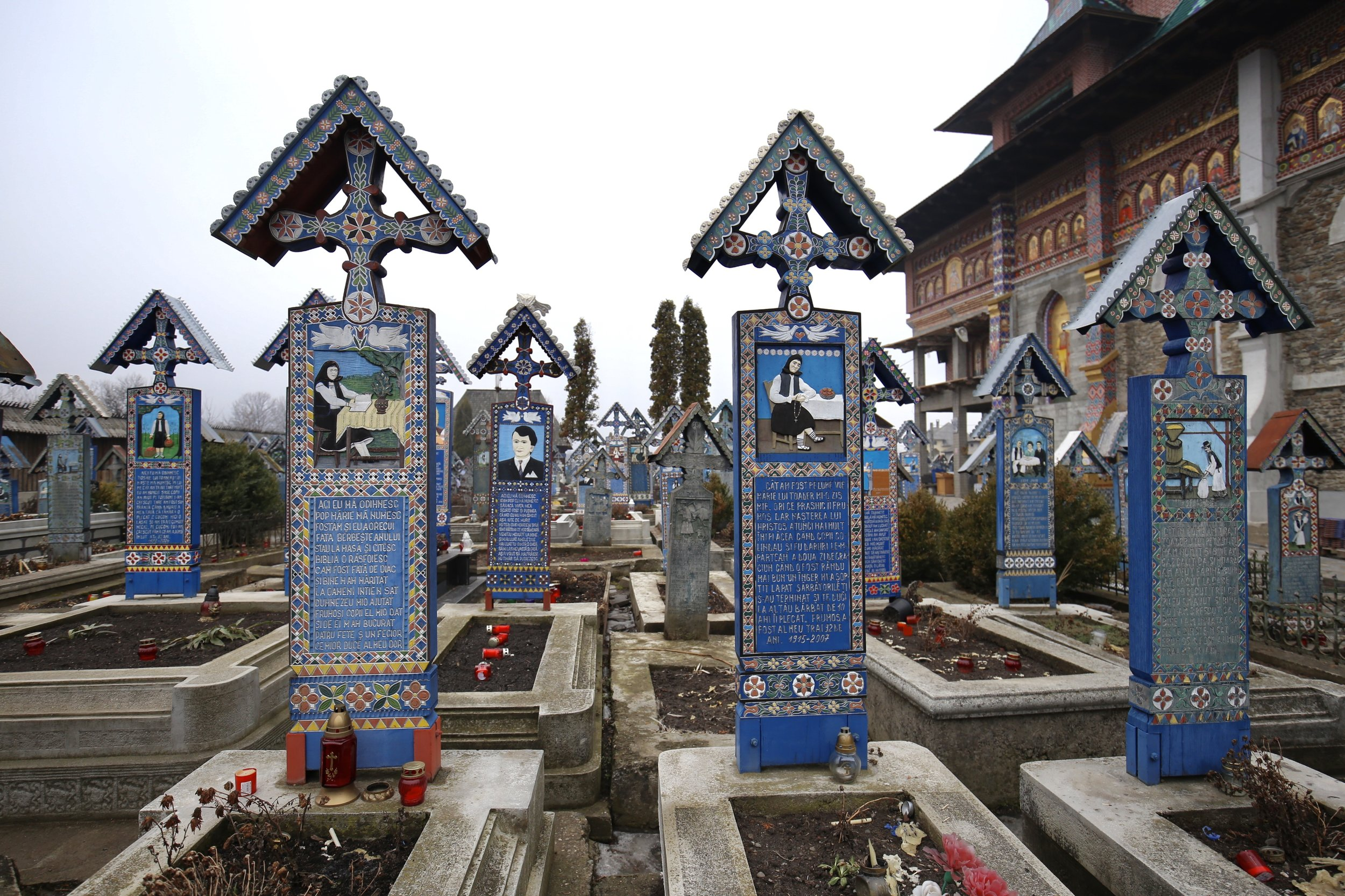 The Merry Cemetery of Sapanta - where the grave markers are painted with colourful images.