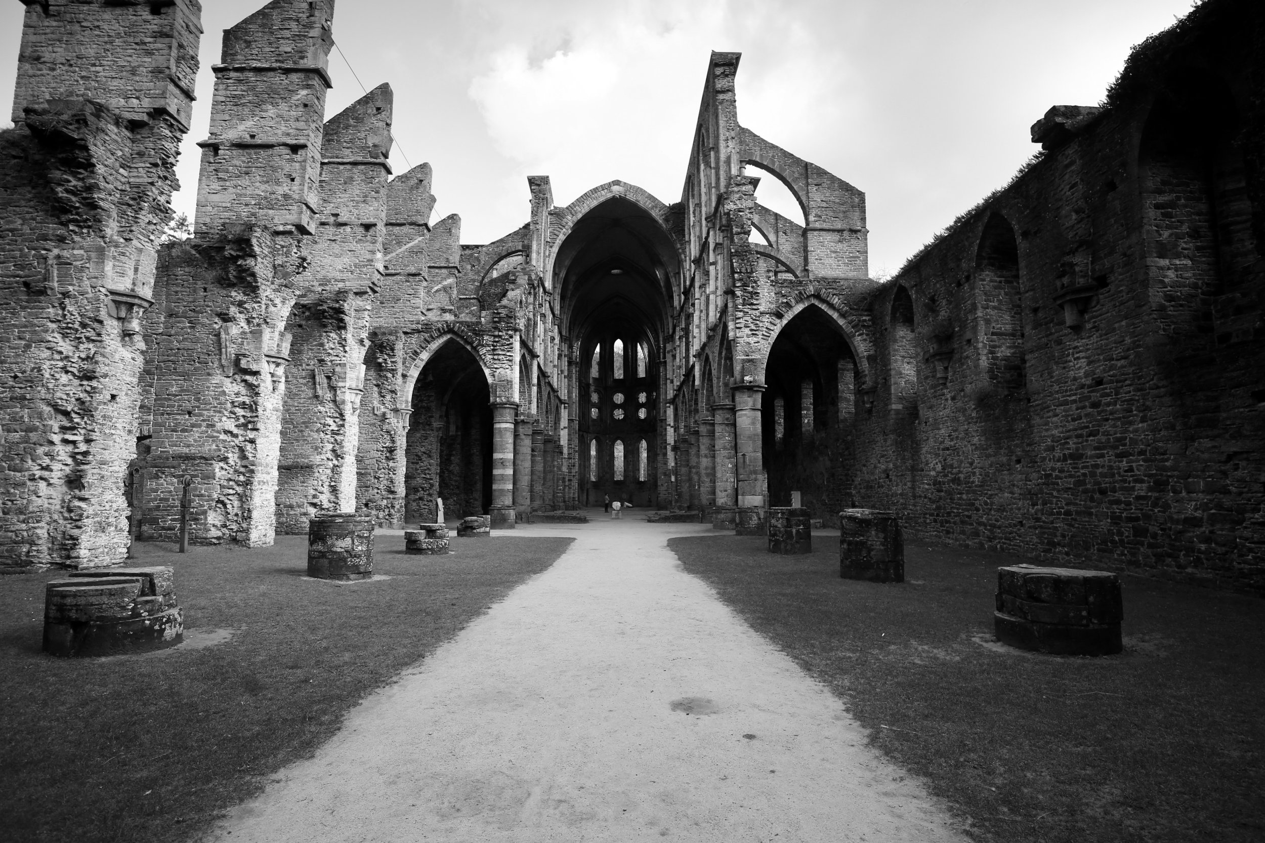 The ruins of Abbaye de Villers, Belgium - in black and white.