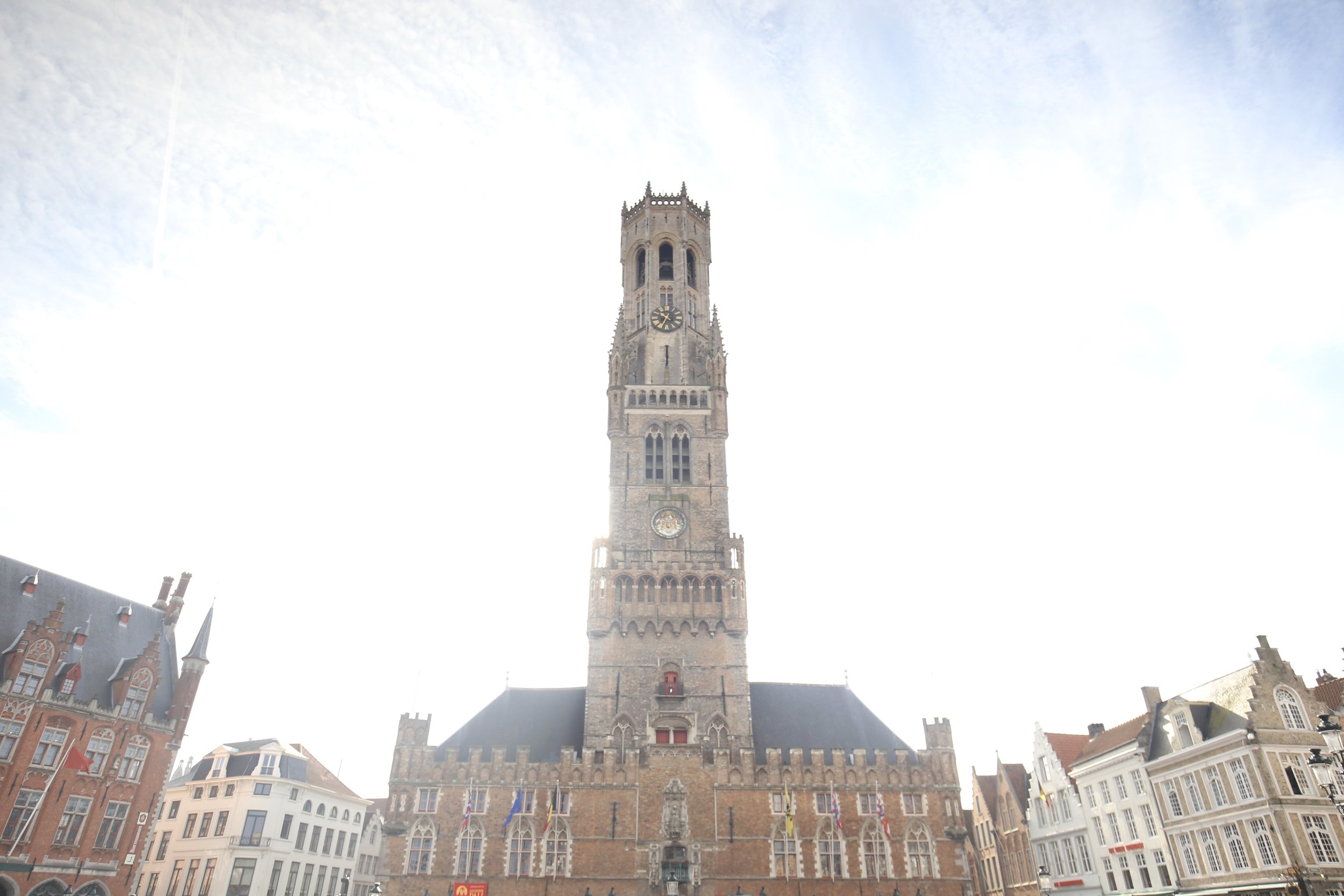 The tower of Bruges - sparkling in the sun.