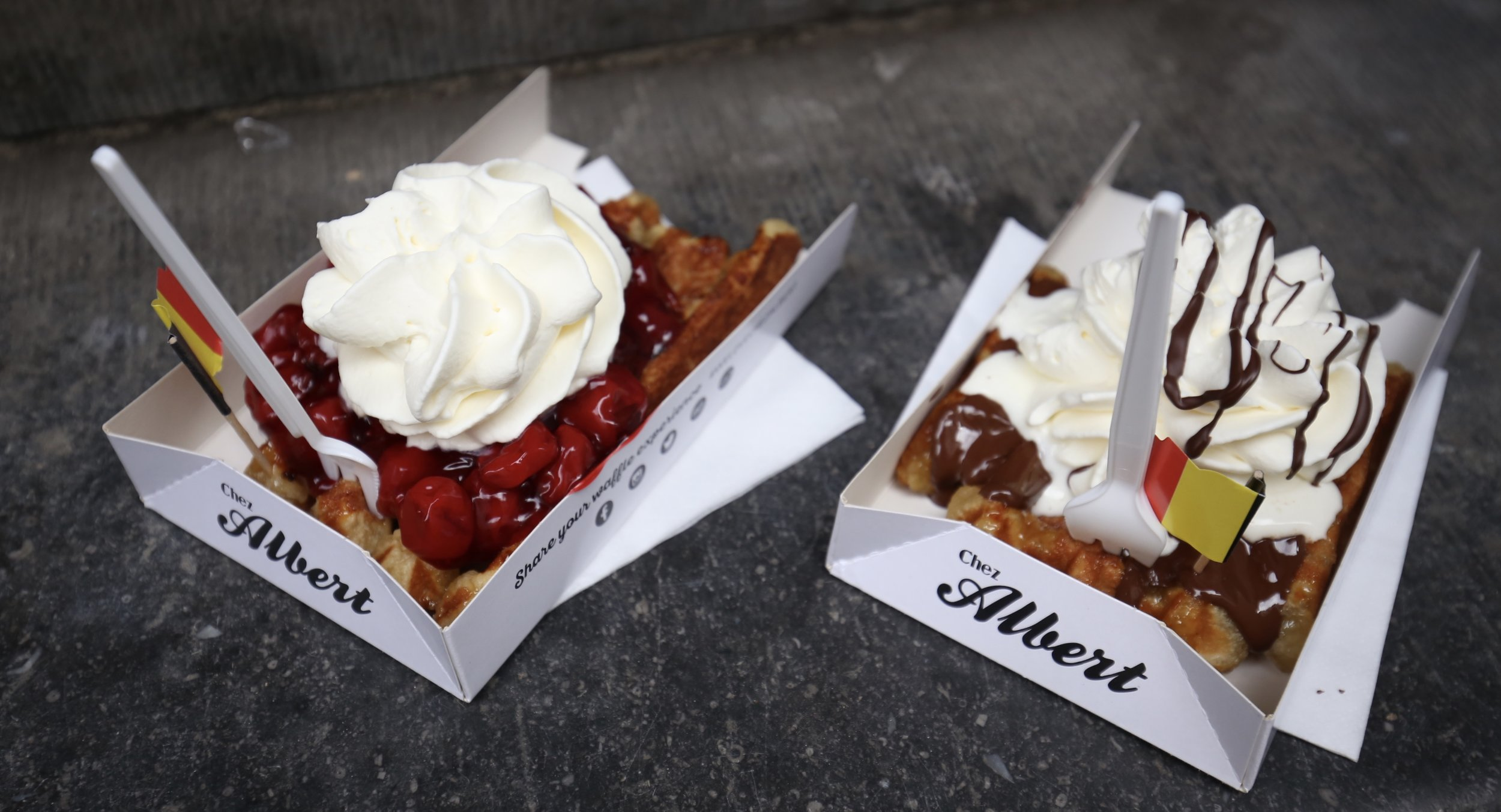 The best waffles in Bruges - from Chez Albert.