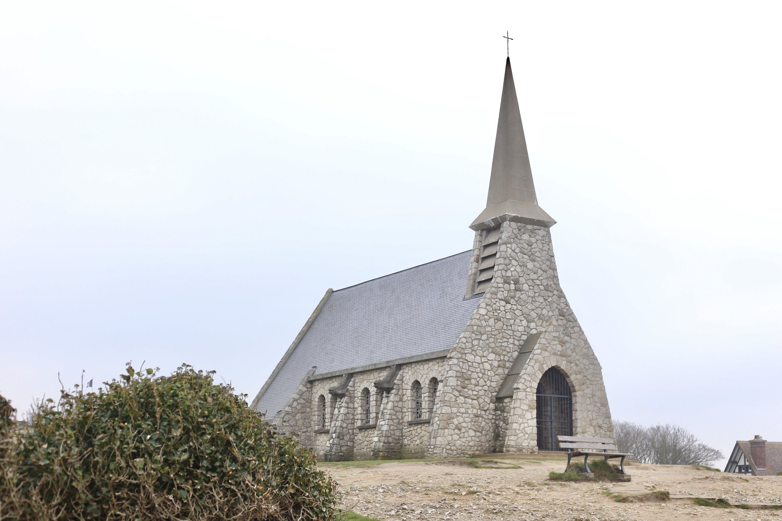The small stone church on the cliffs of Etretat.