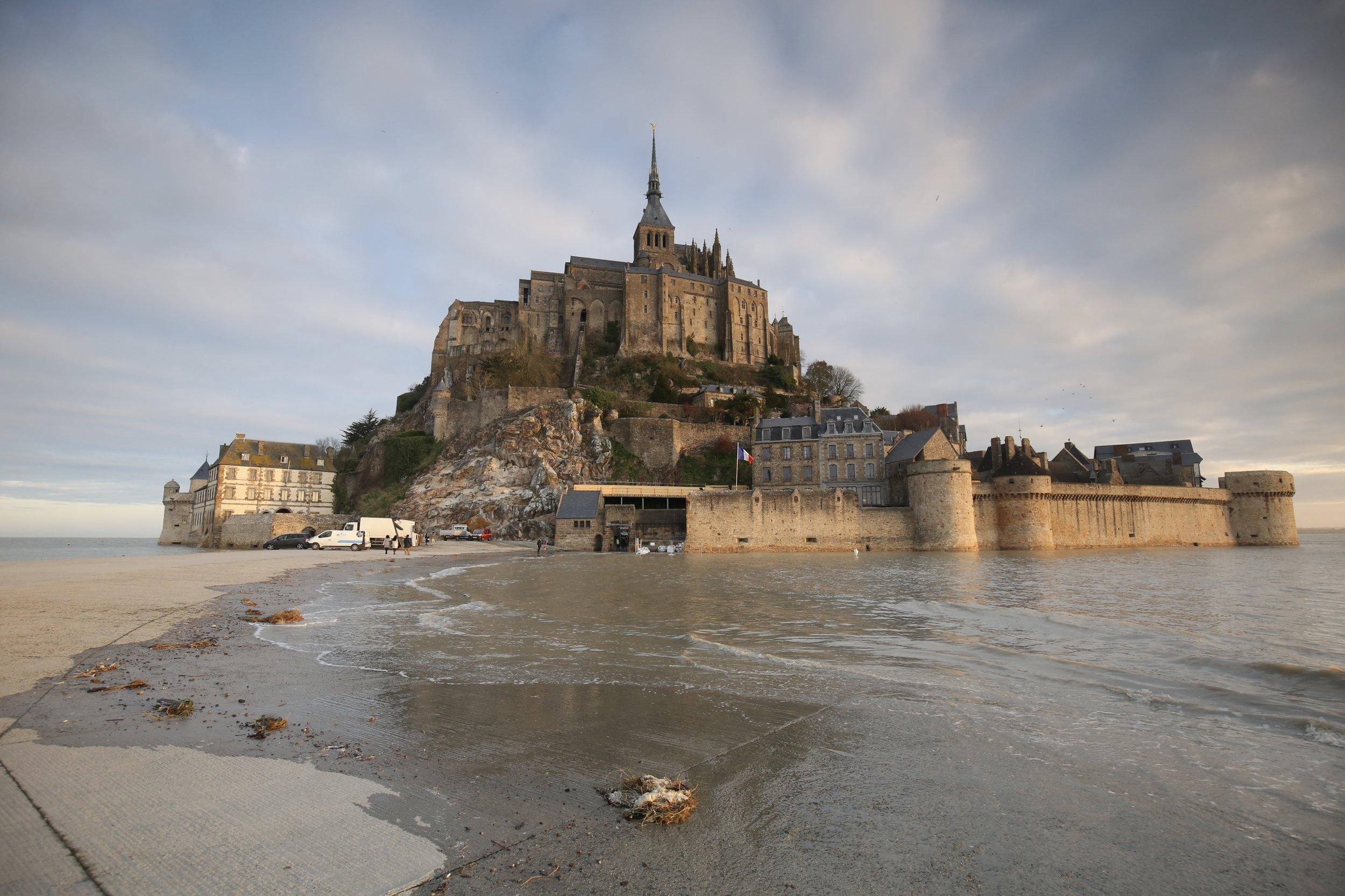 Mont Saint Michel island at high tide.