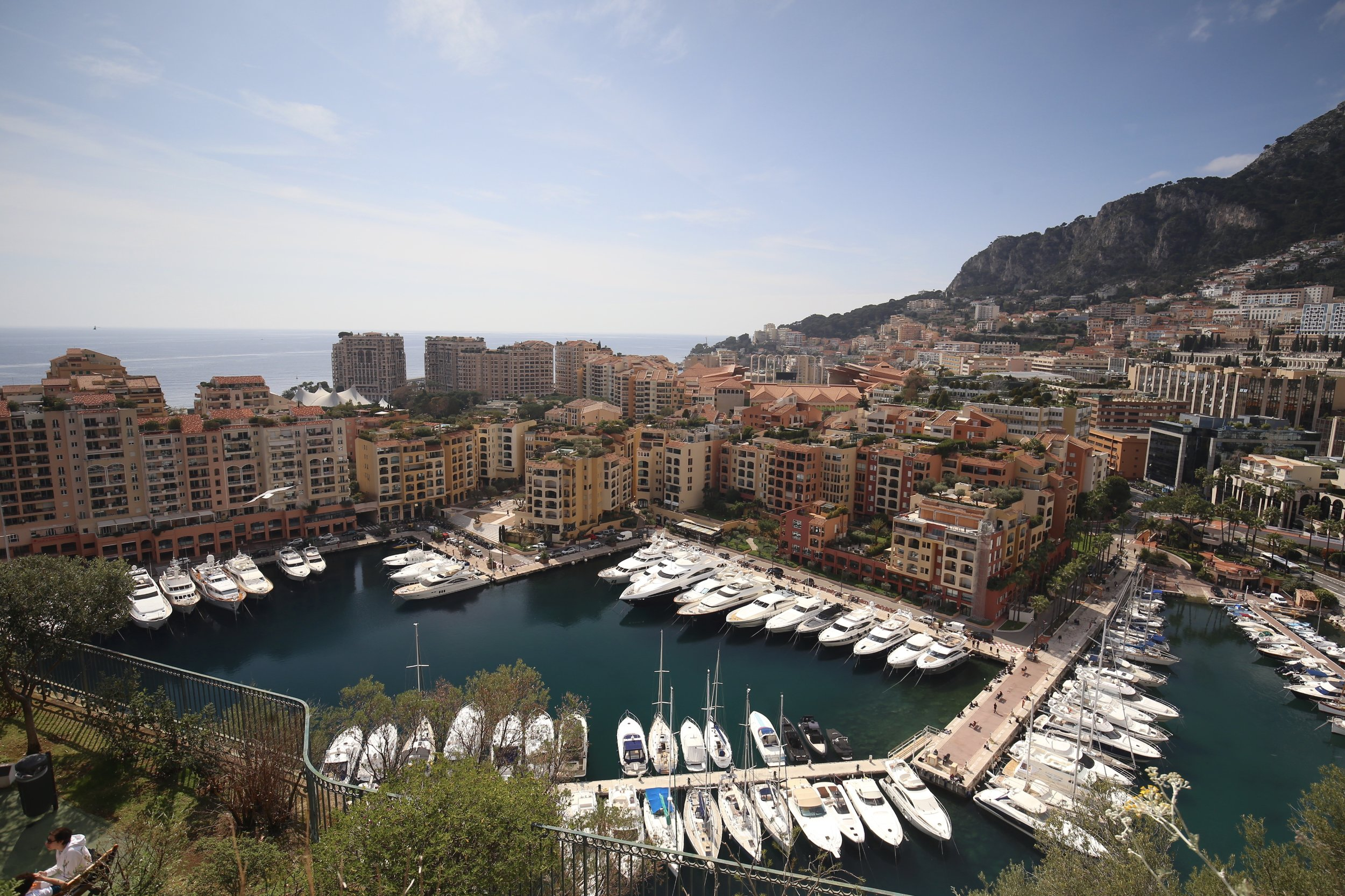 View over the harbour of Monaco, with luxury yachts all lined up and gardens laid out below.