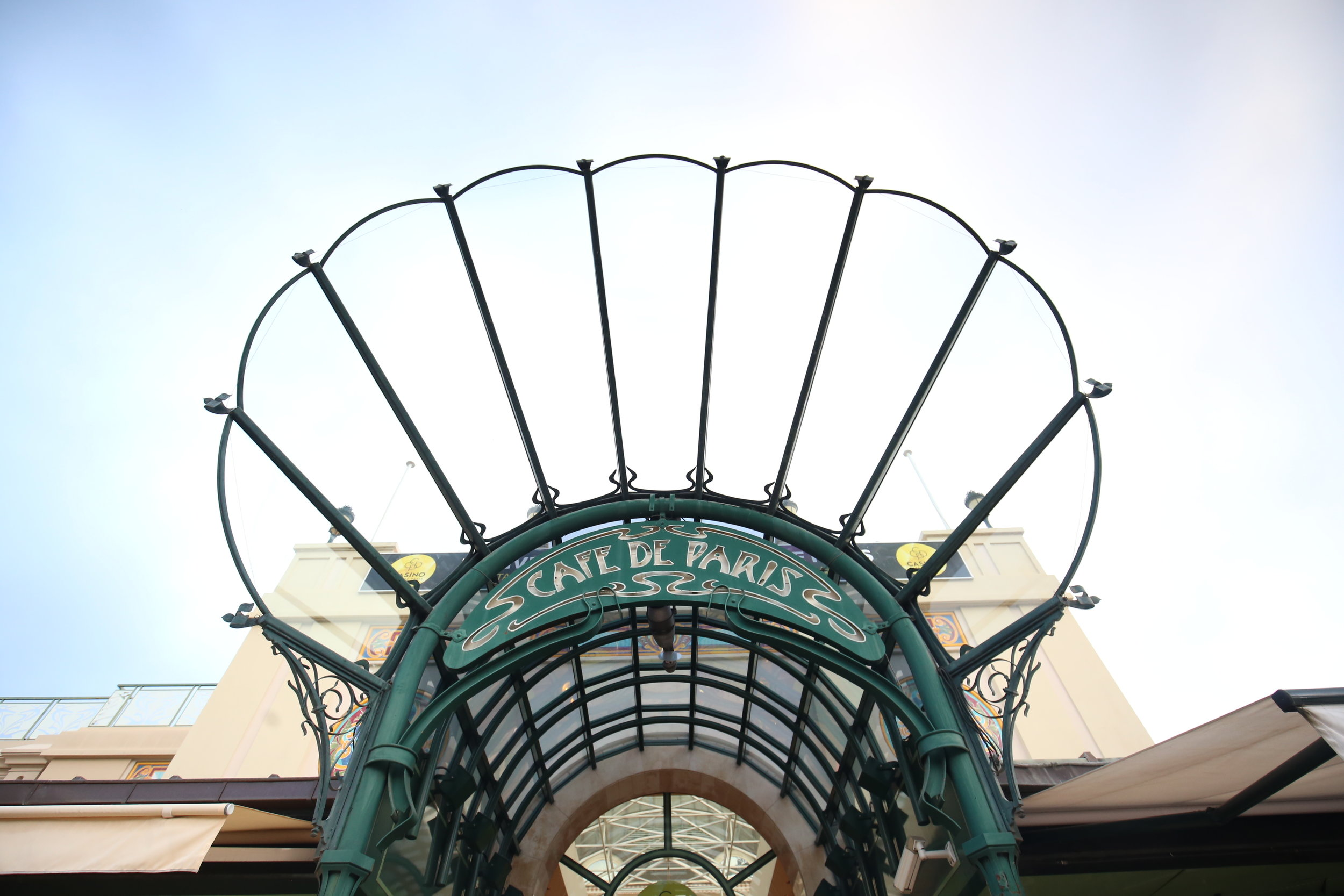 Cafe de Paris art nouveau glass awning in Monaco.
