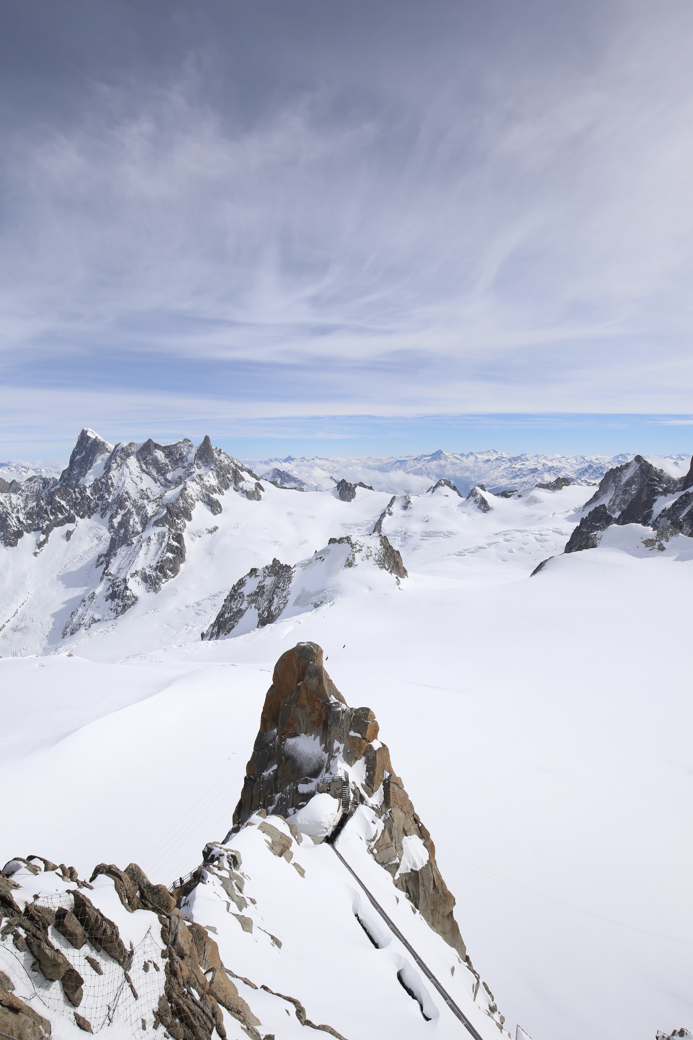 The beautiful peaks of the Alps and Mont Blanc.