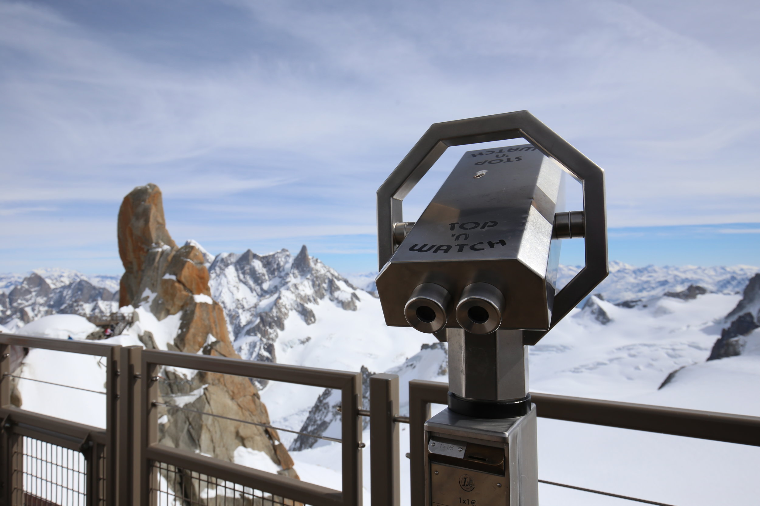 Binoculars to look out over the alps.