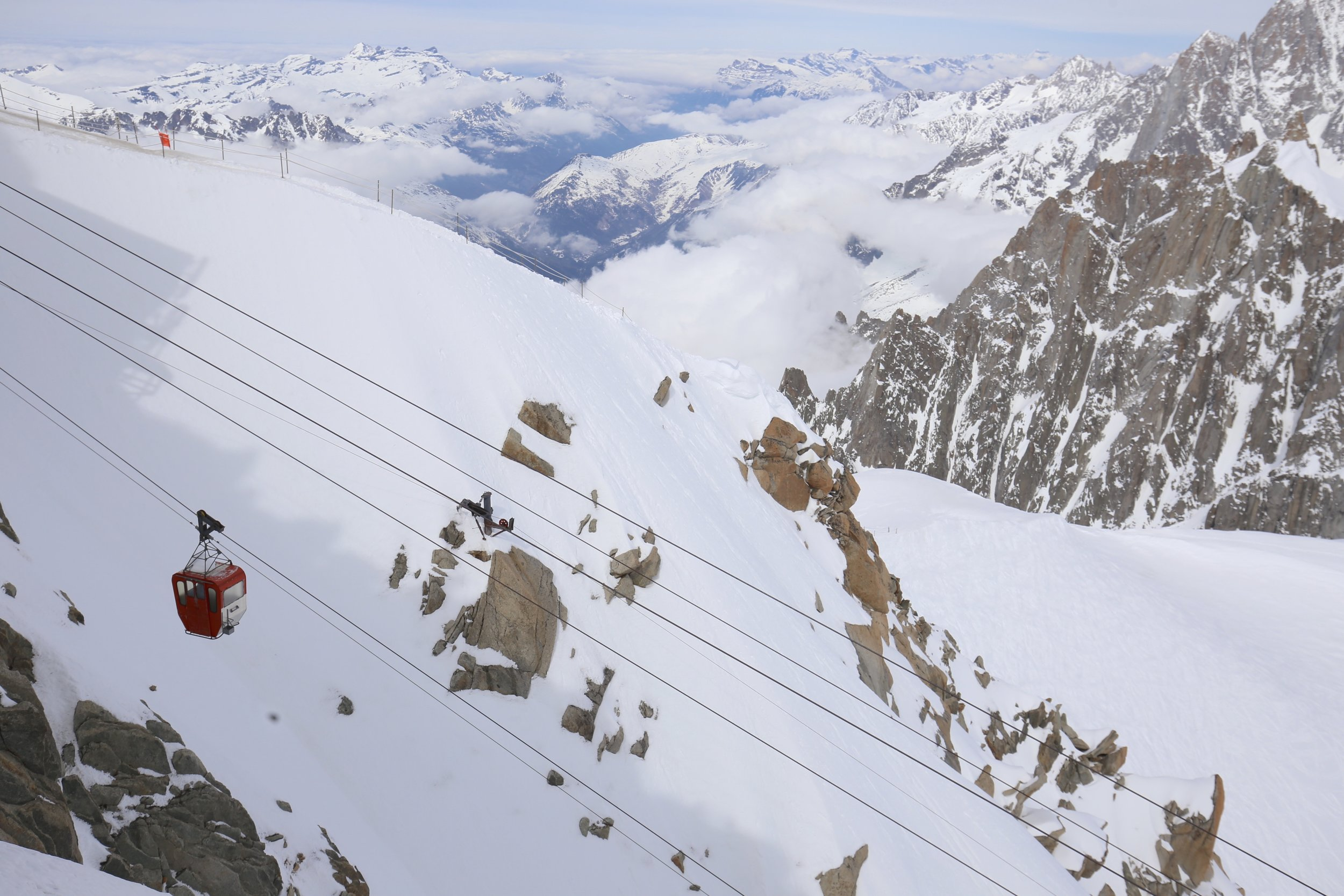 The old chairlift to Aiguille du Midi.