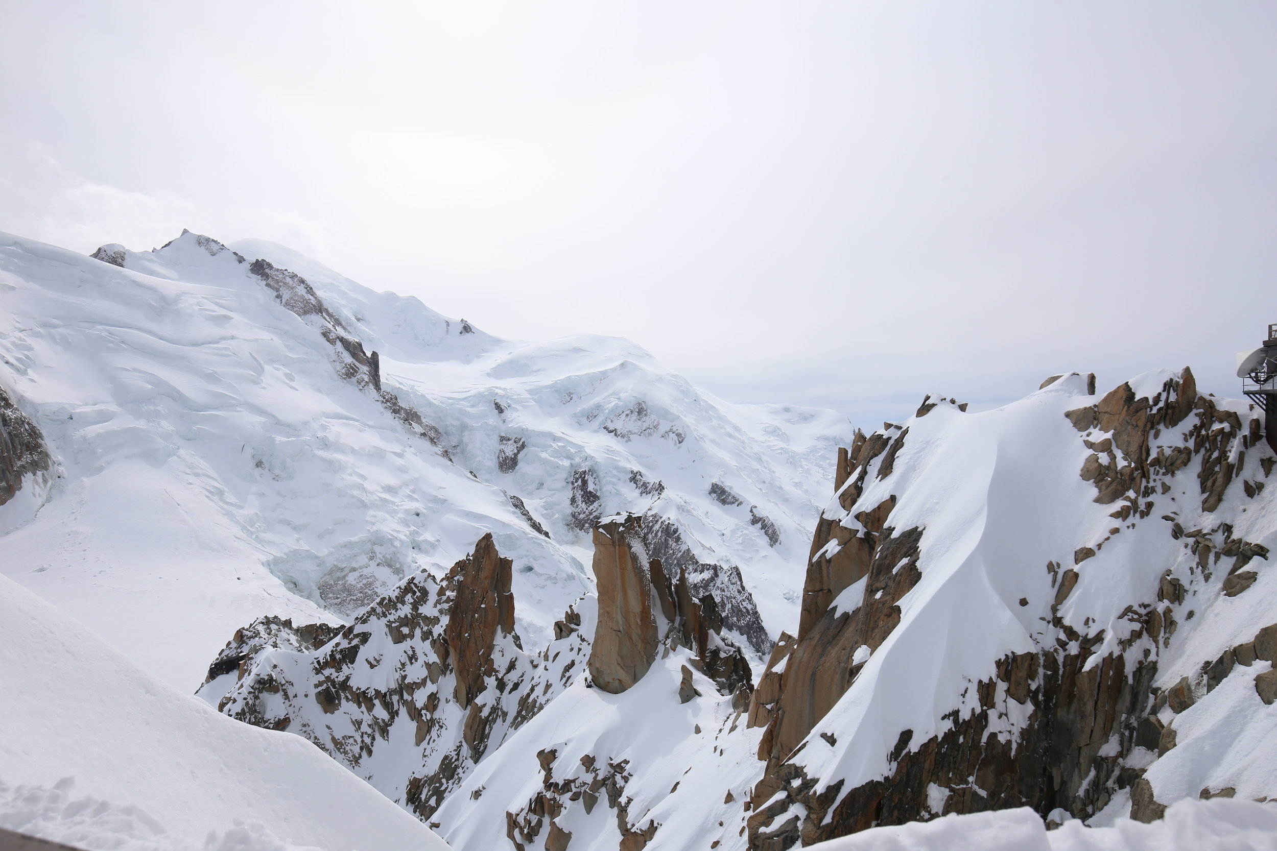 Views over the Alps and Mont Blanc - spectacular snowy mountains.