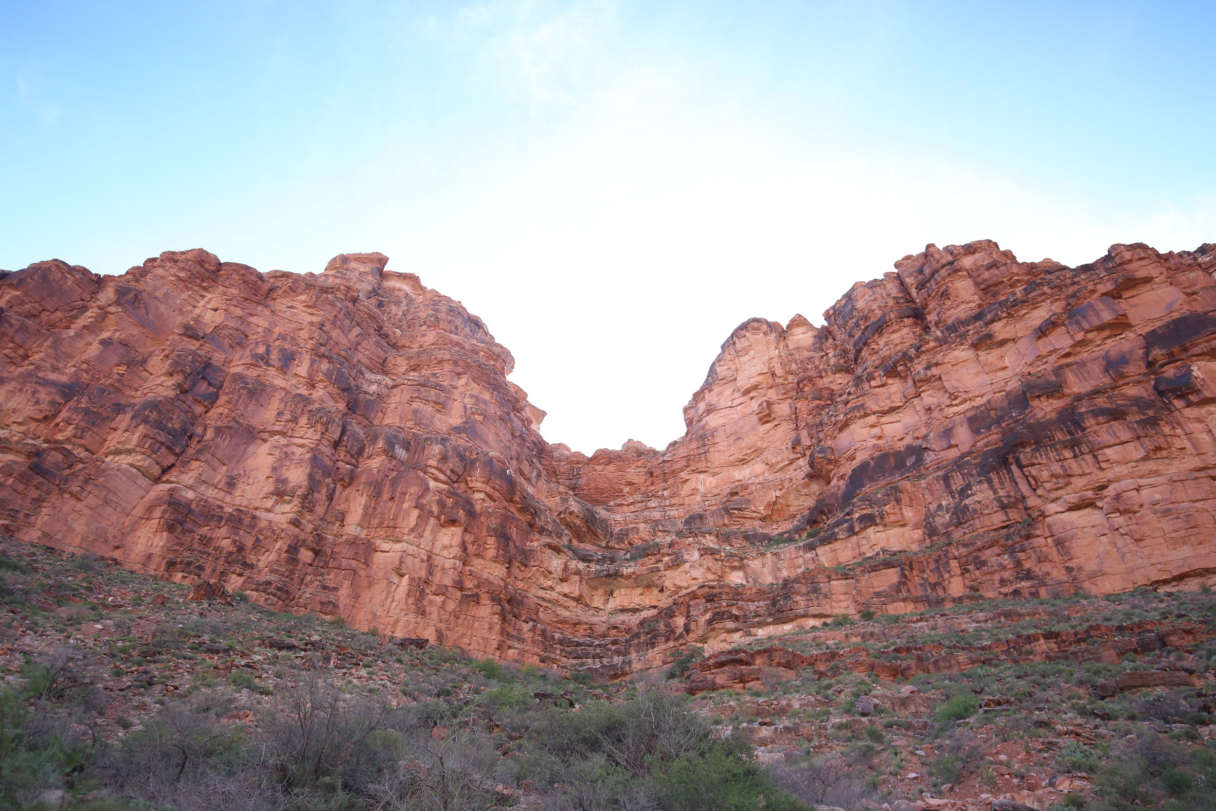 Red rocks of the Grand Canyon at midday, with sun halos.