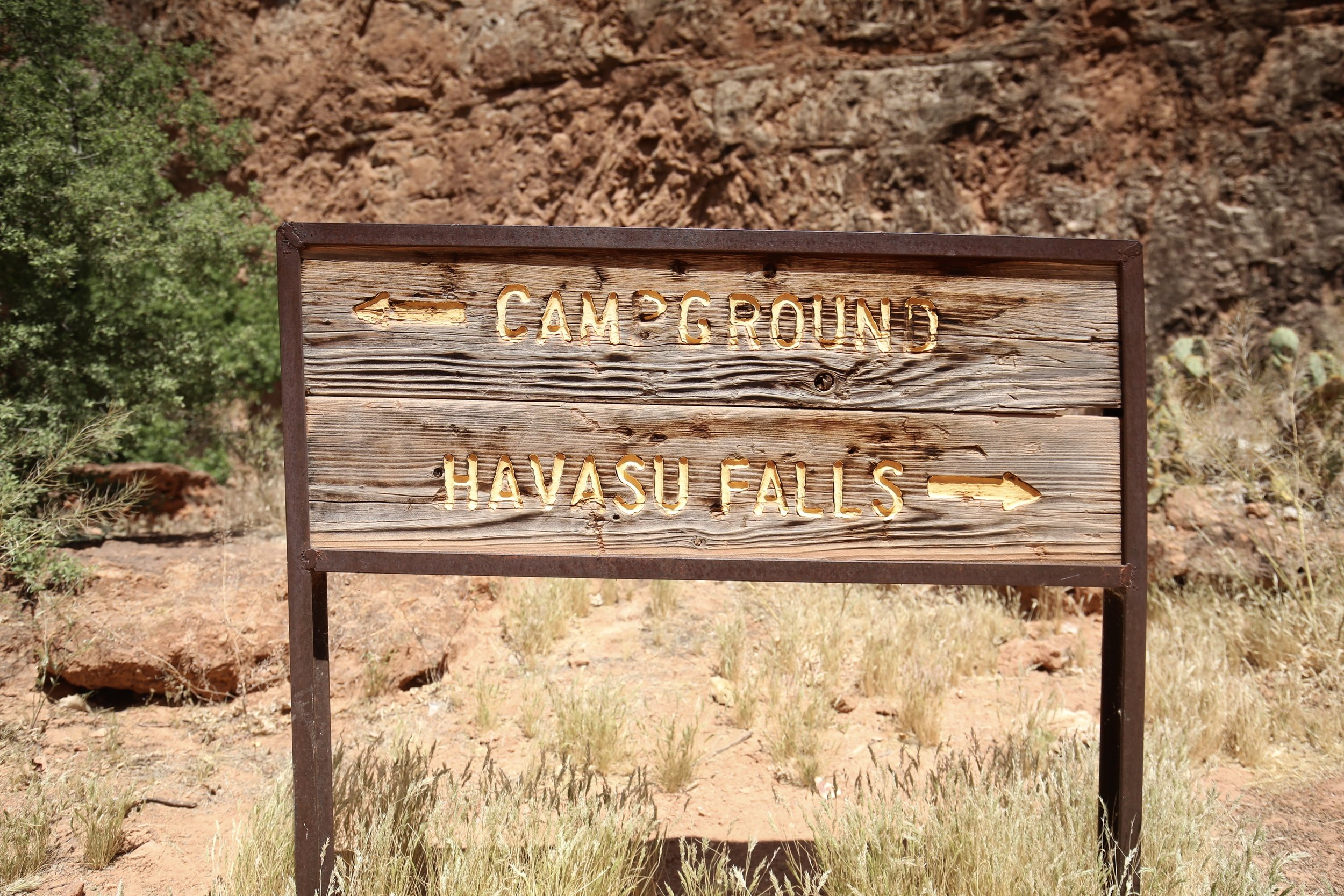Sign for Havasu Falls and Campground.