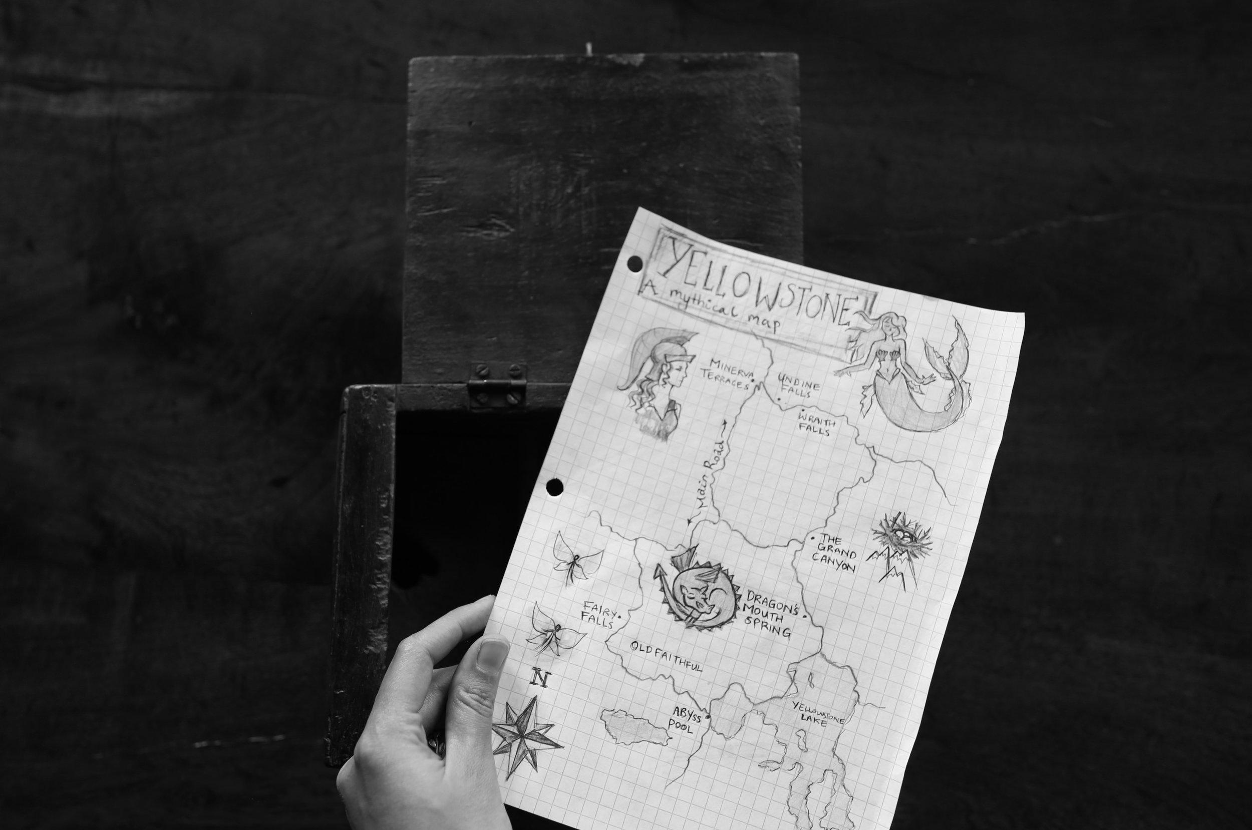 Yellowstone hand drawn map