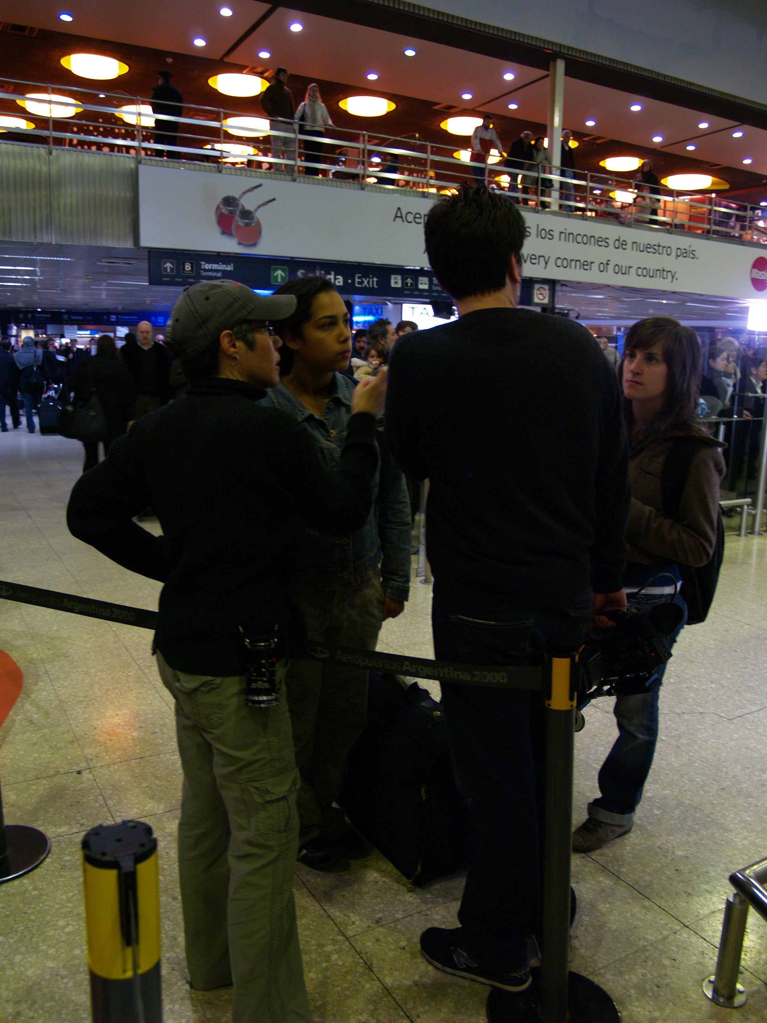 Cristina and crew filming at Ezeiza International Airport, Buenos Aires, Argentina.