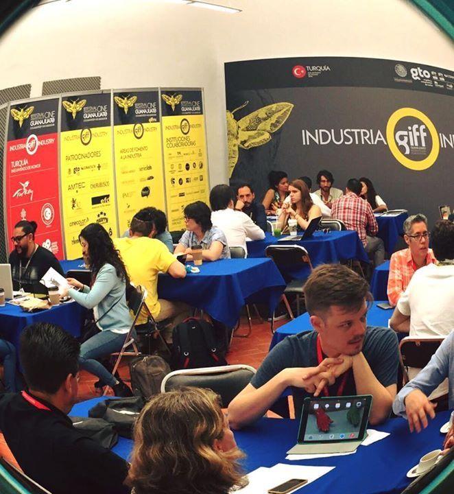 Listening to pitches at Industria GIFF - Guanajuato International Film Festival, Guanajuato, México.