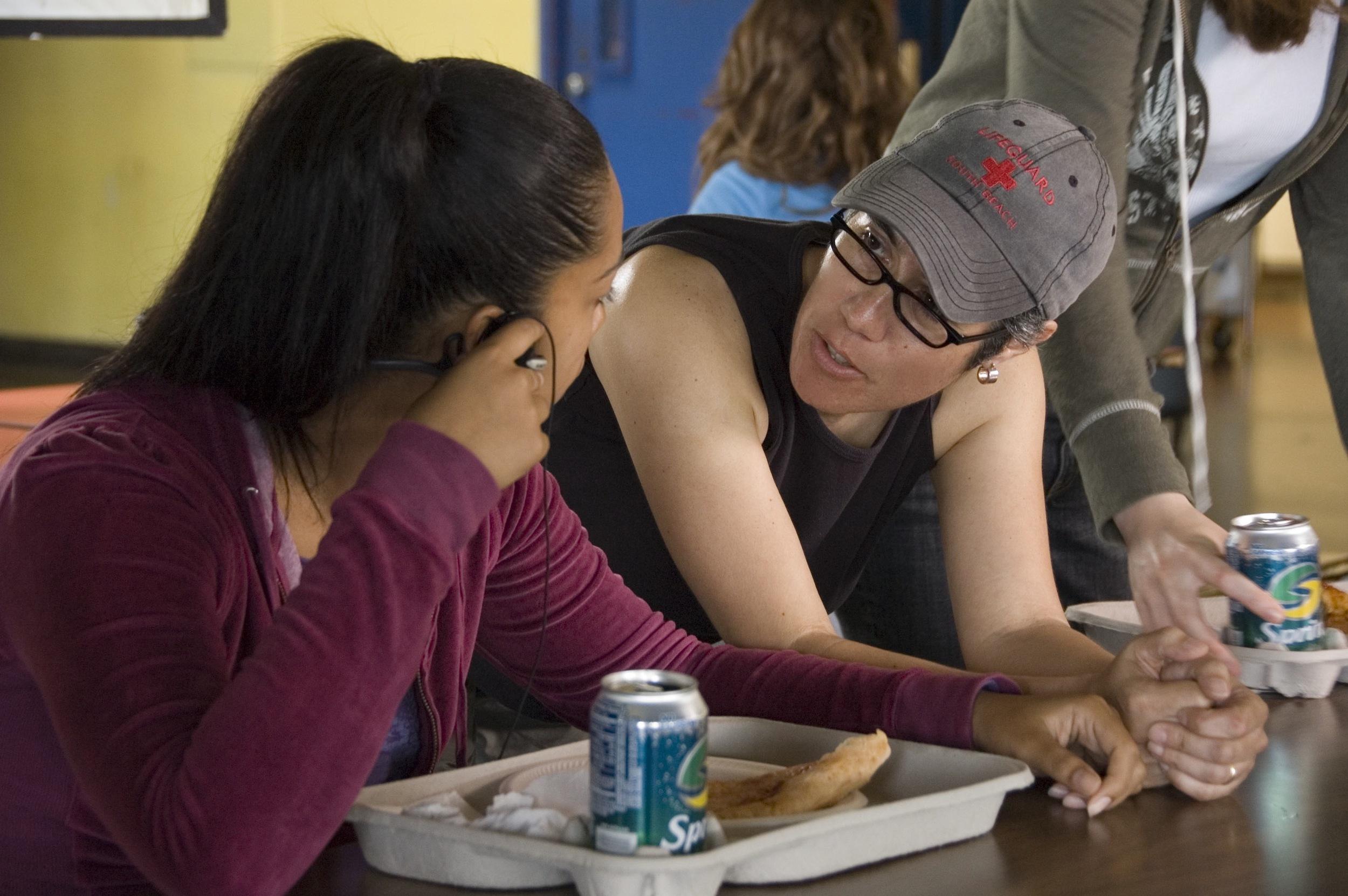 Cristina and Kristen Gonzalez on set of  3 Américas .