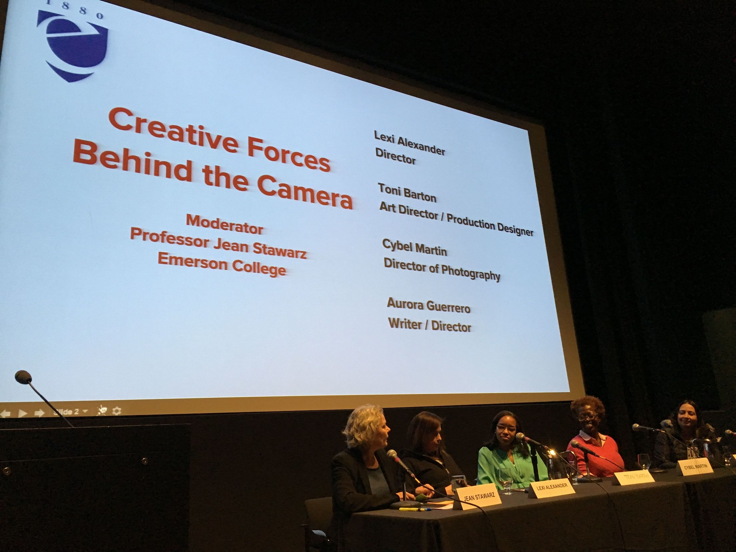 From L to R: Professor and screenwriter Jean Stawarz moderates panel with Lexi Alexander, Toni Barton, Cybel Martin and Aurora Guerrero.