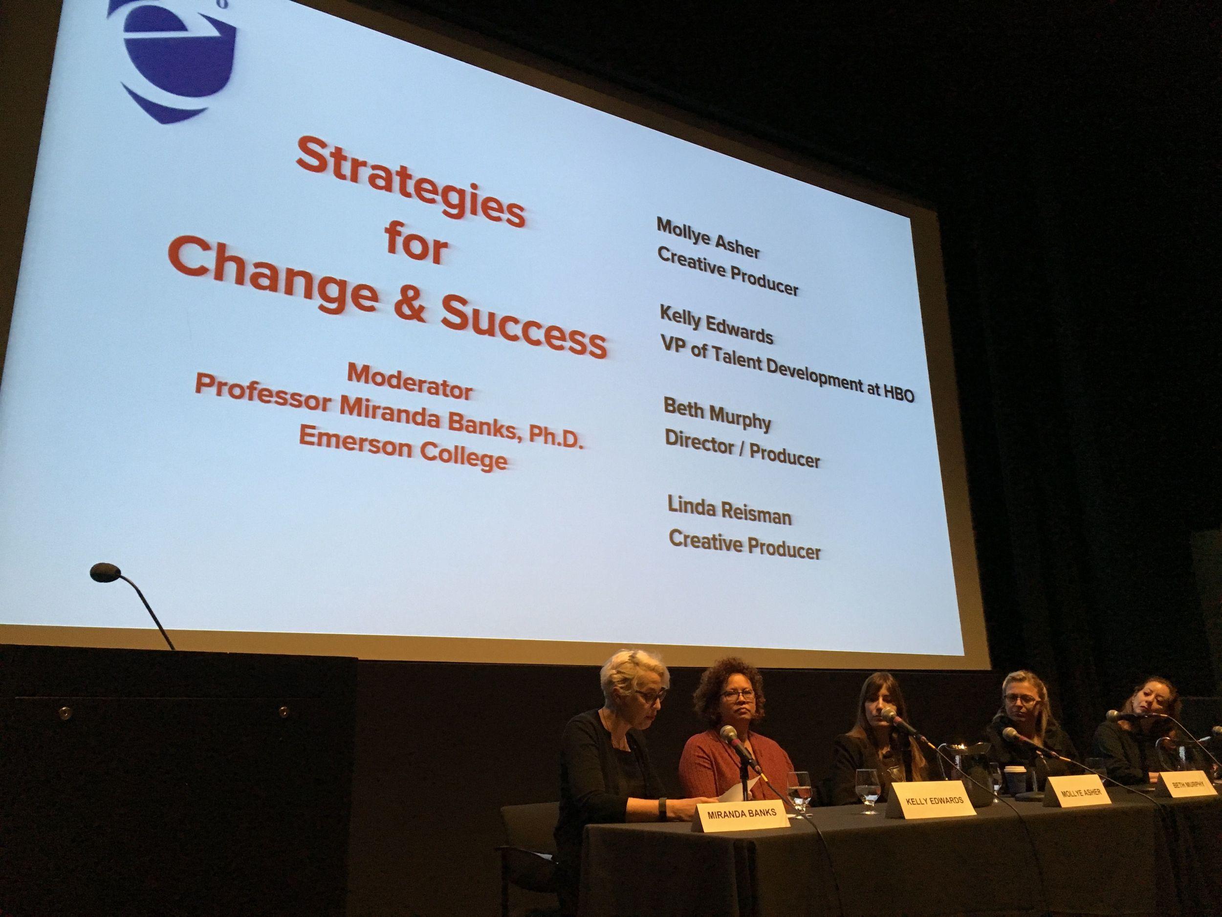 Moderator and professor, Miranda Banks; VP of talent development at HBO, Kelly Edwards; producer Mollye Asher; director/producer Beth Murphy and producer Linda Reisman.