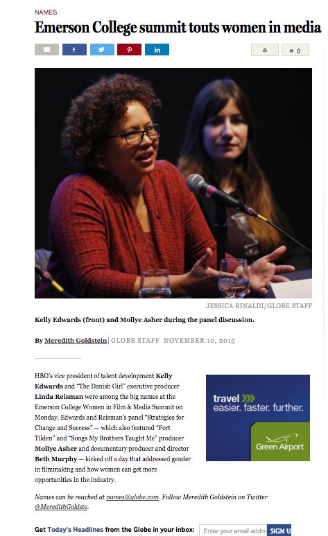 Boston Globe mentions Emerson College's first Women in Film & Media Summit, November 9, 2015.