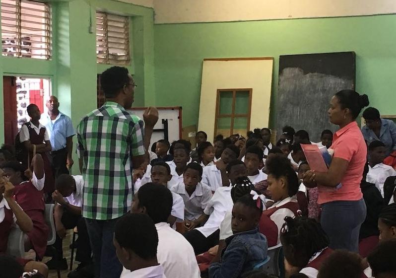 Shawn sharing at a School