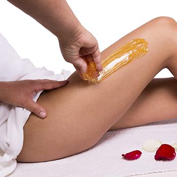 leg waxing and rose petals